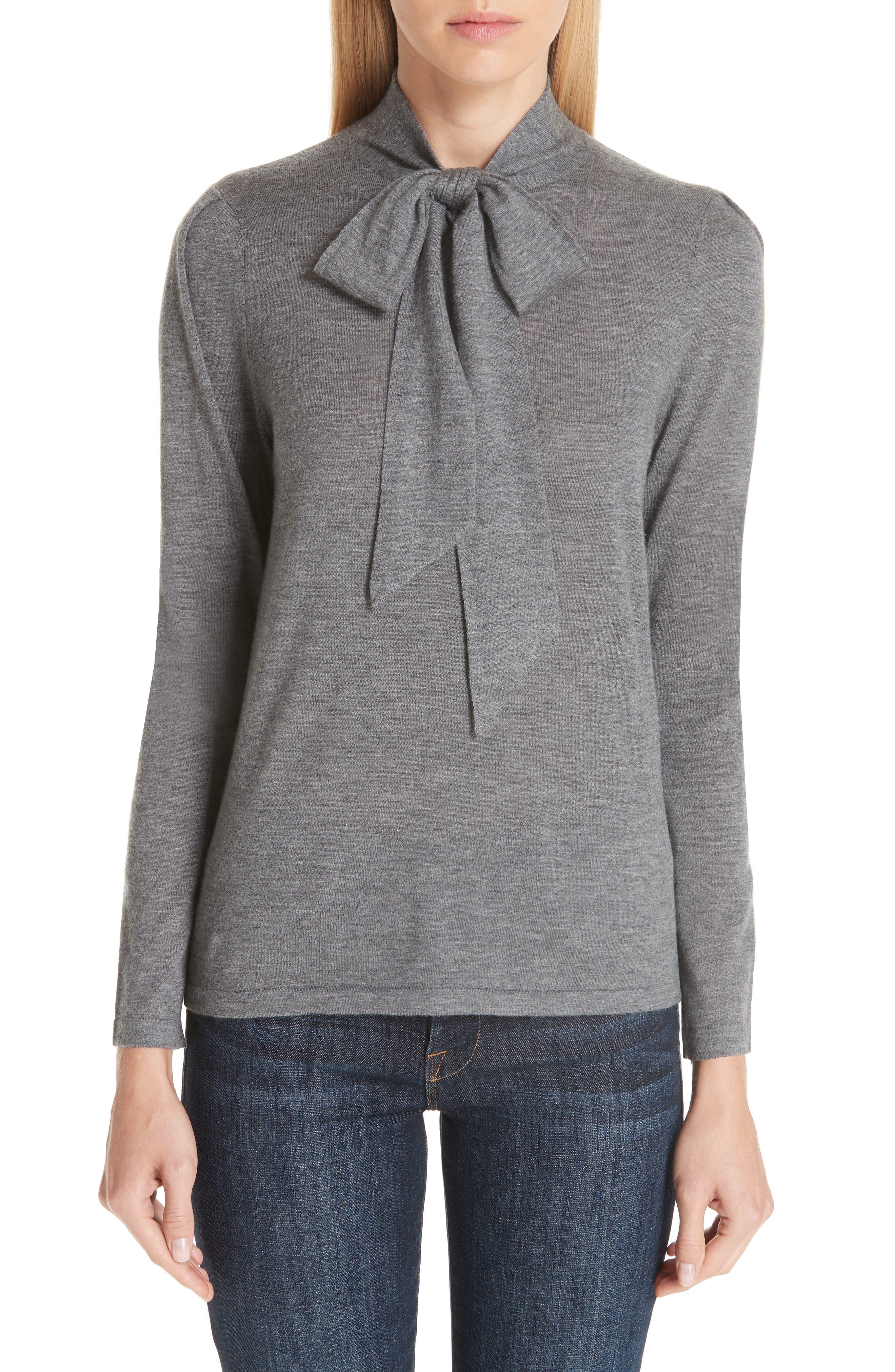 Essentials Tie Neck Cashmere Sweater,                             Main thumbnail 1, color,                             GREY