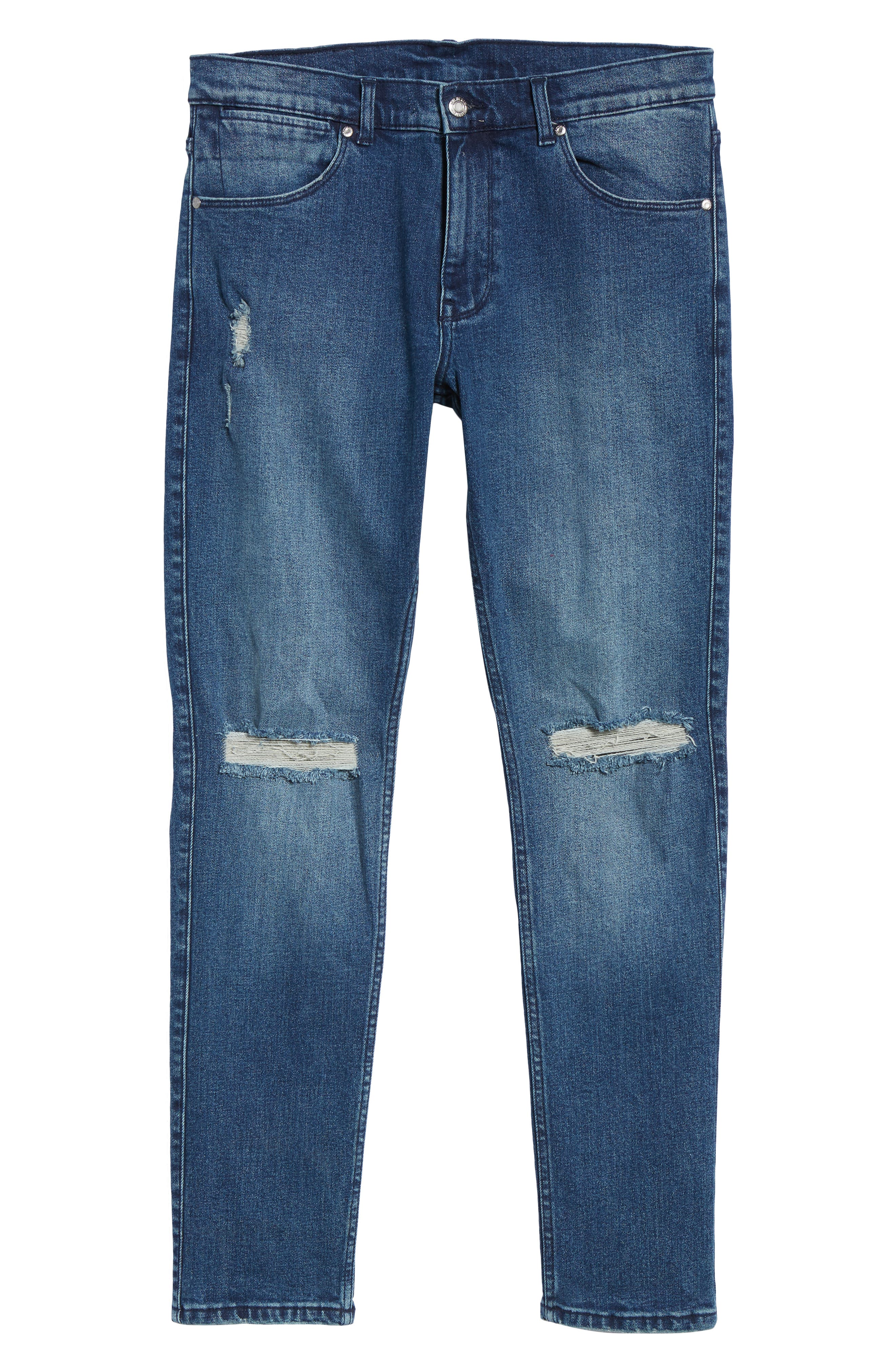 Clark Slim Straight Leg Jeans,                             Alternate thumbnail 6, color,                             WORN ASH BLUE DAMAGED