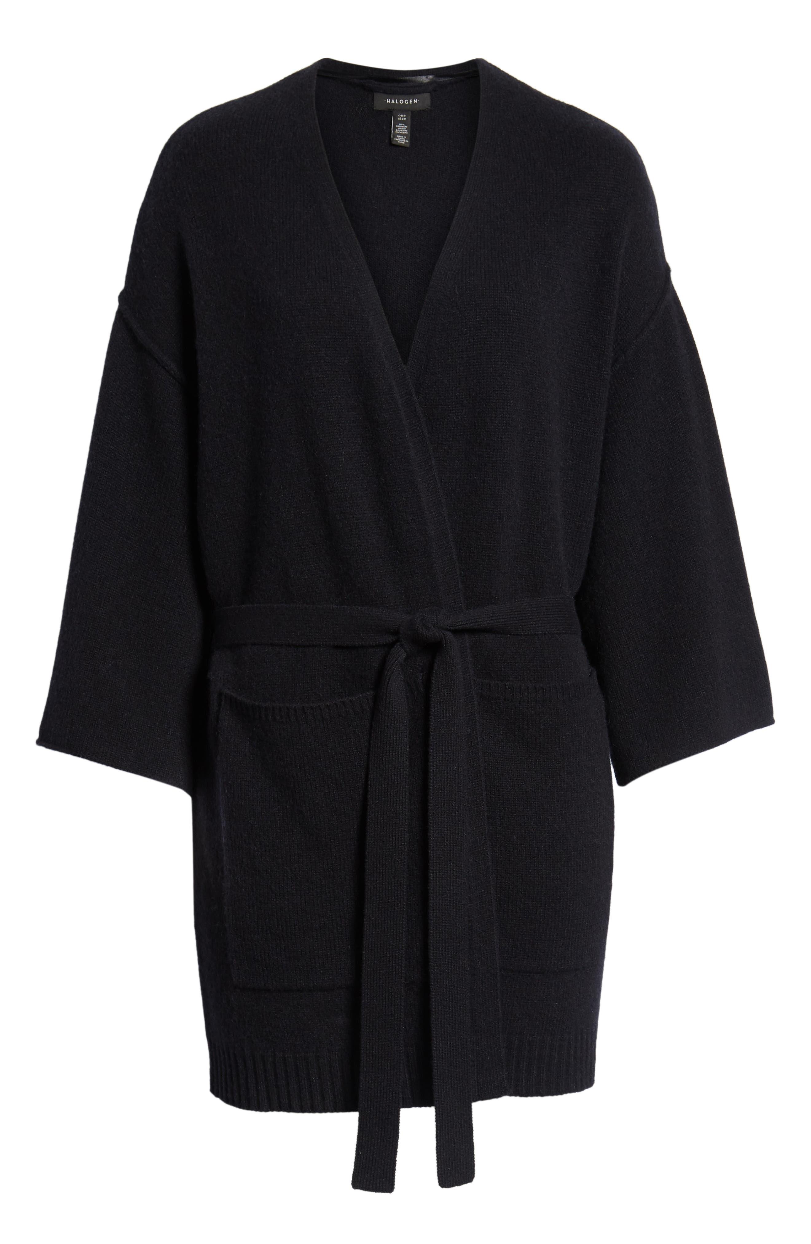 Belted Cashmere Kimono,                             Alternate thumbnail 6, color,                             001