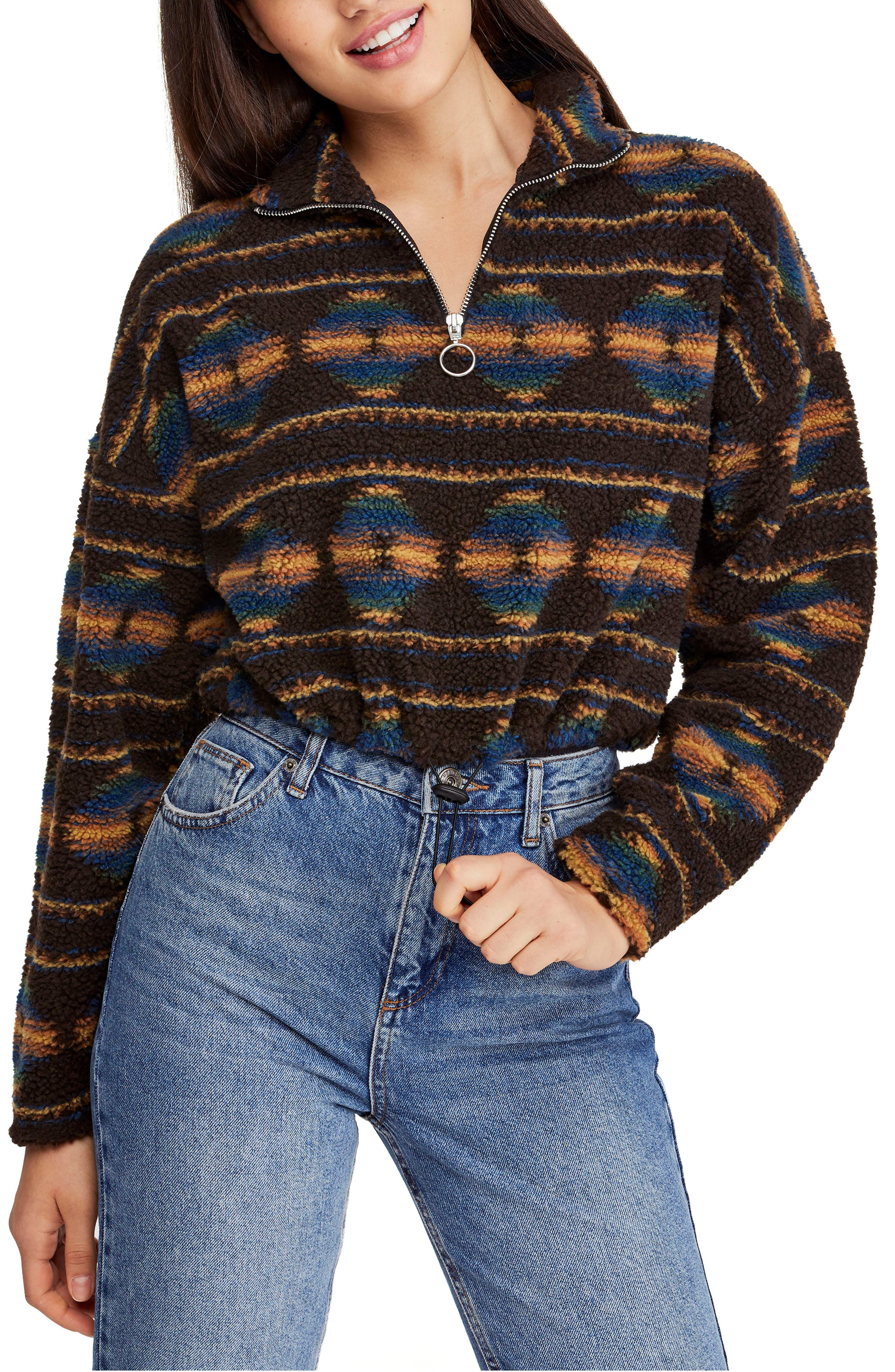 Bdg Urban Outfitters Southwestern Fleece Jacket, Brown