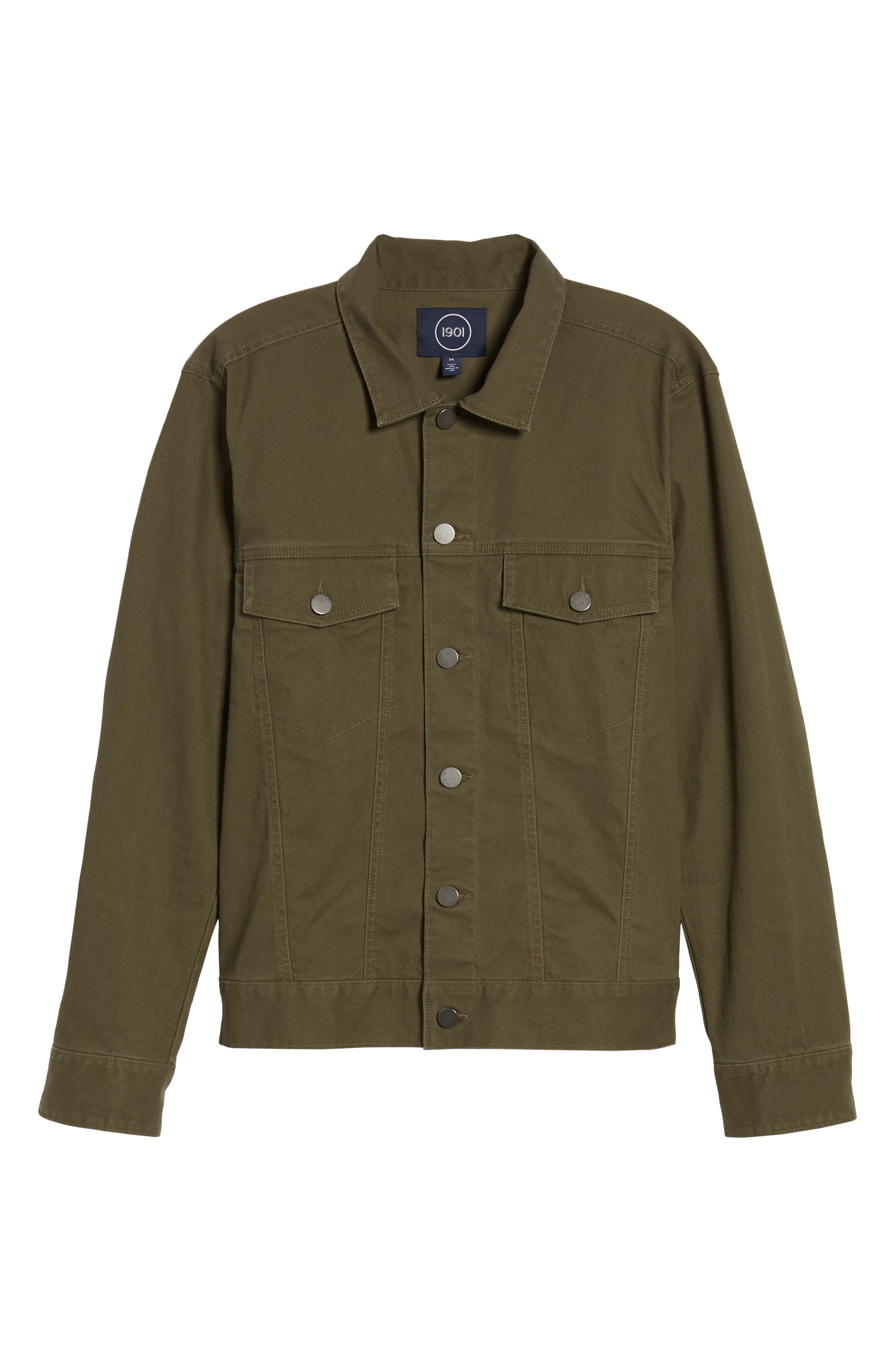 Stretch Cotton Trucker Jacket,                             Alternate thumbnail 5, color,                             GREEN FOREST