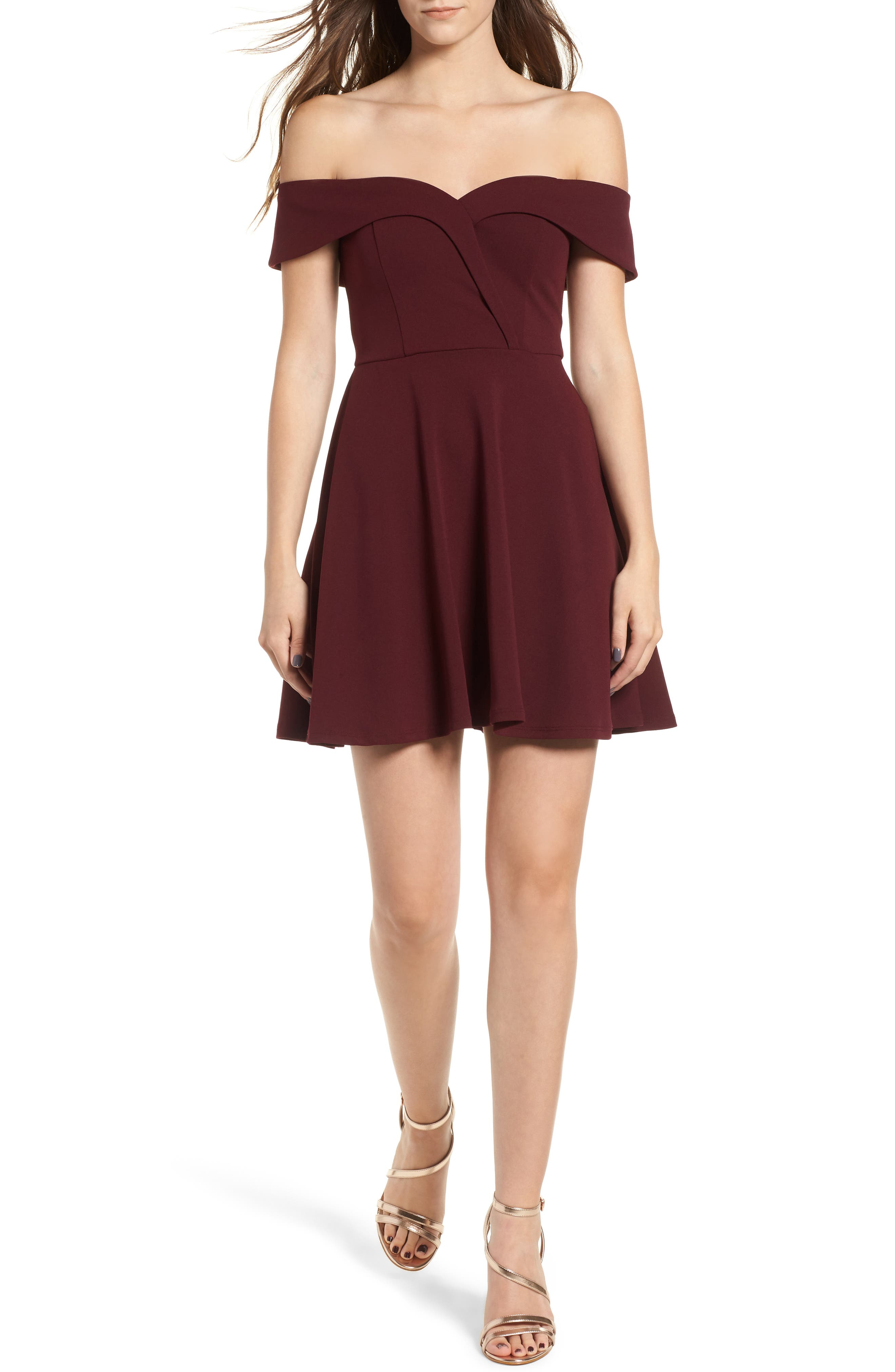 Off the Shoulder Scuba Crepe Skater Dress,                             Main thumbnail 1, color,                             930