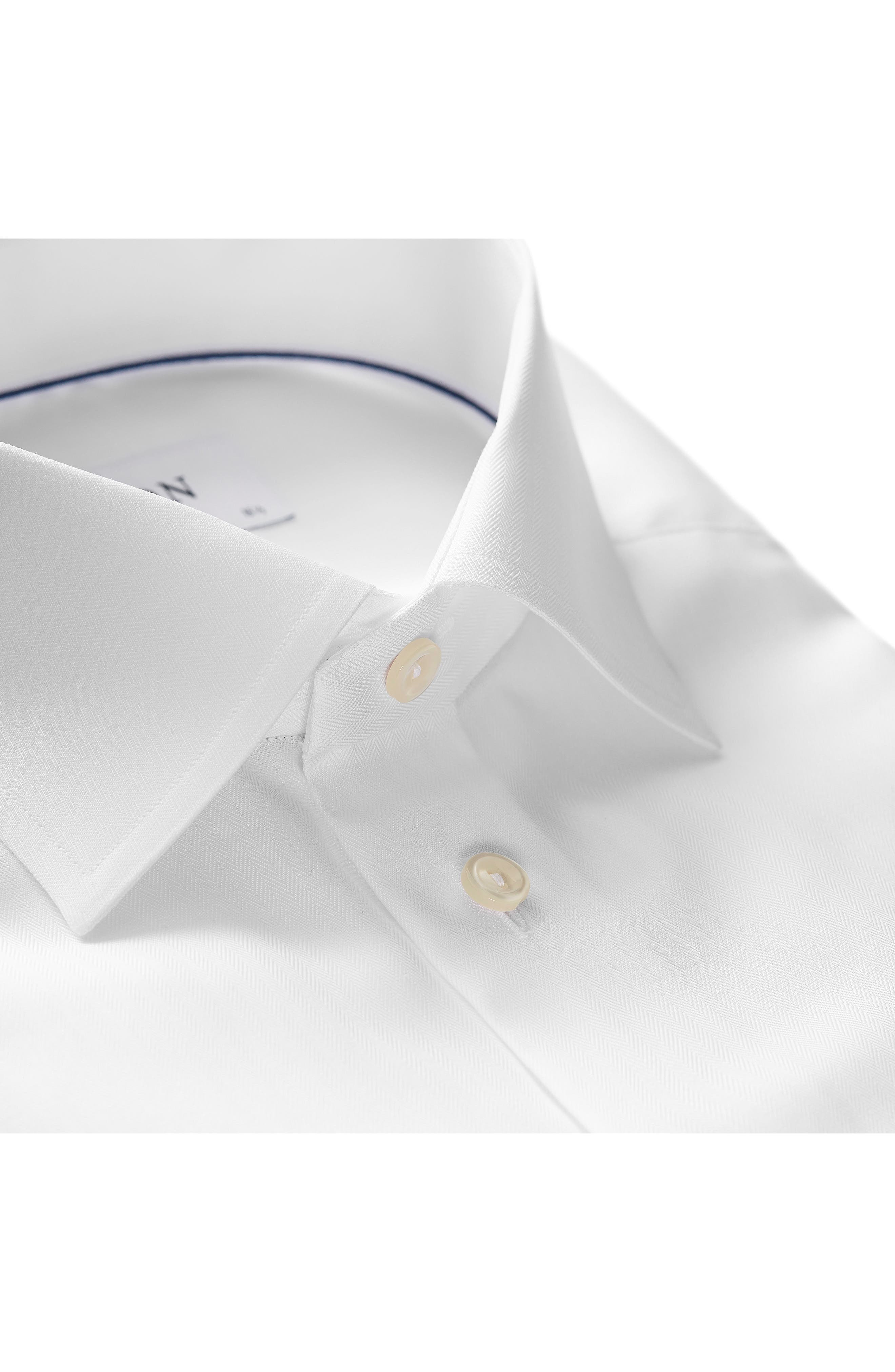 Slim Fit Herringbone Dress Shirt,                             Alternate thumbnail 2, color,                             WHITE