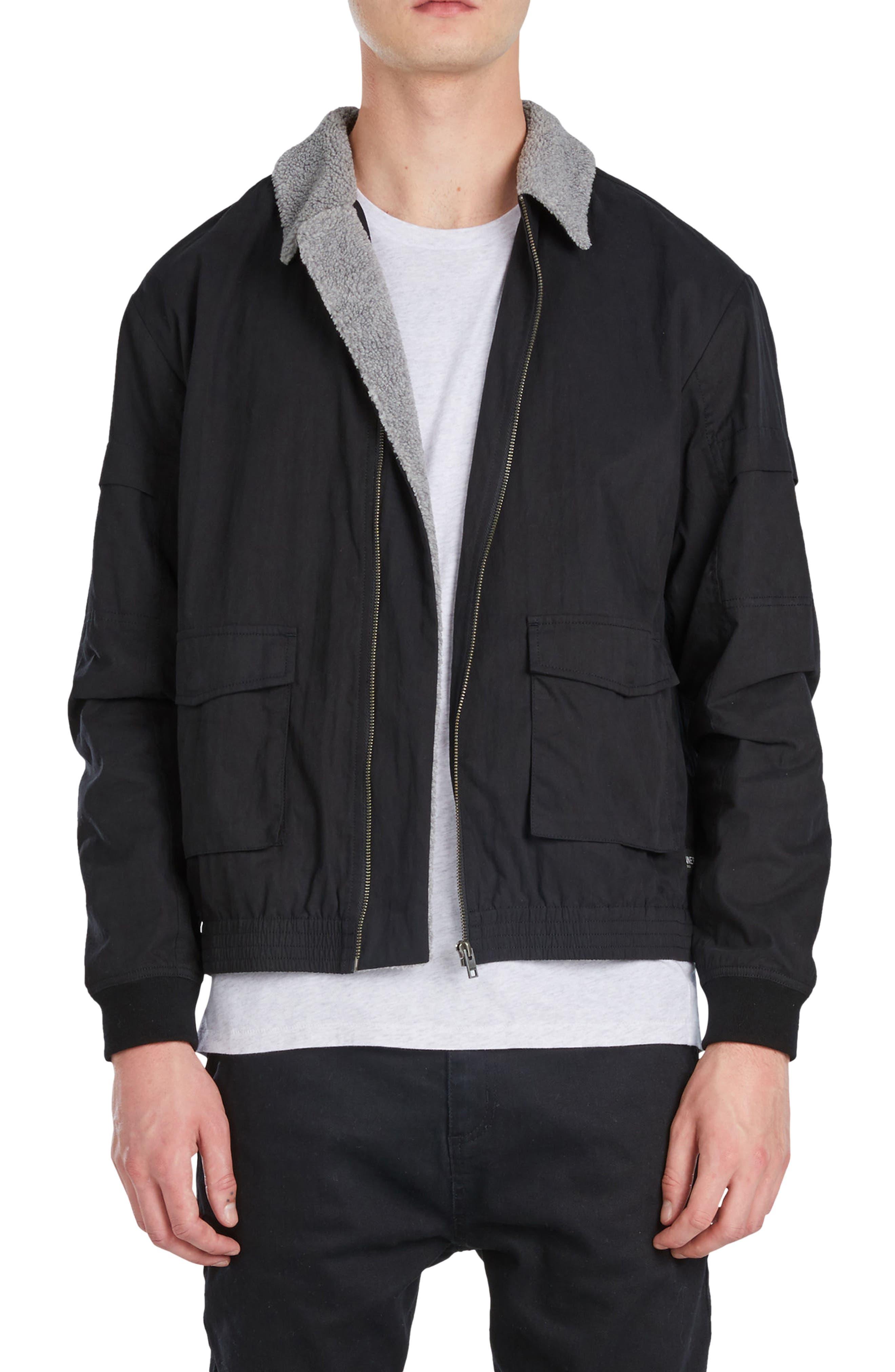 Sherpa Windbreaker Jacket,                         Main,                         color, 001