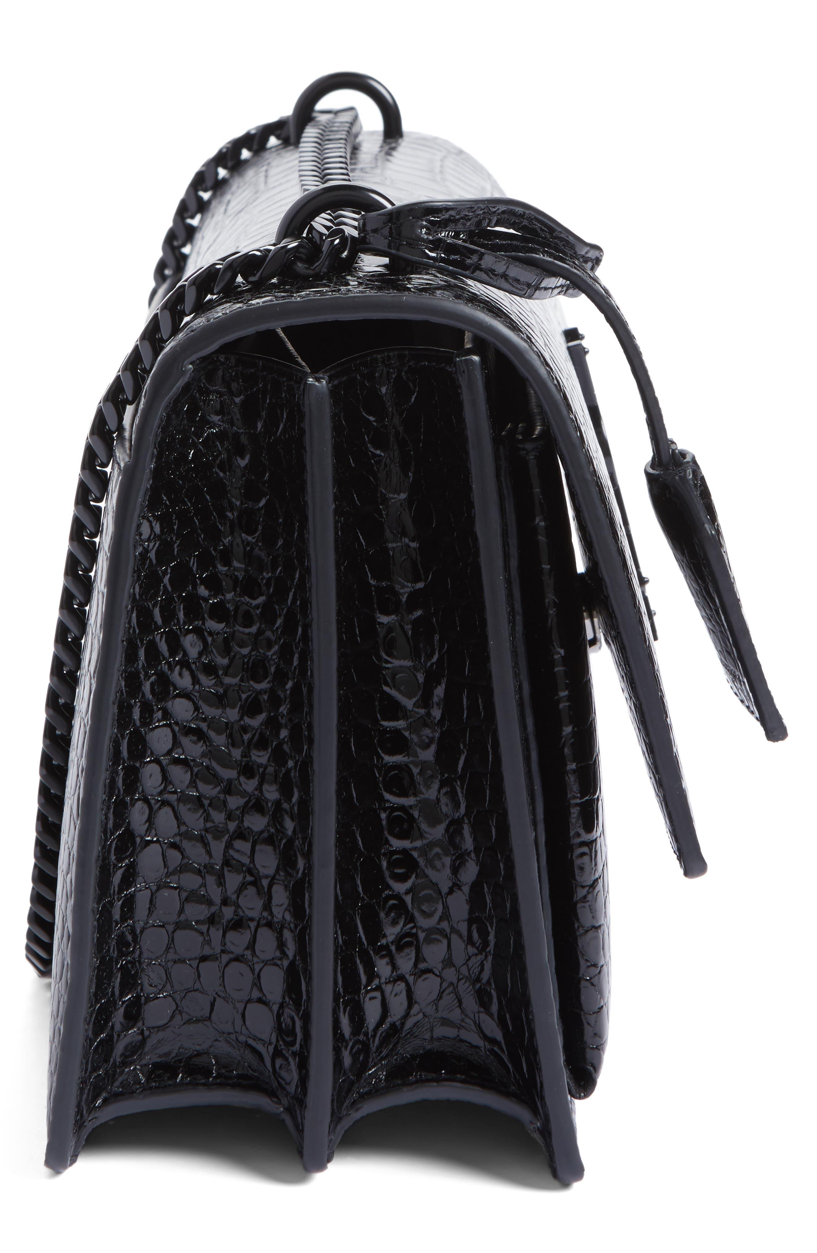 Medium Sunset Croc Embossed Leather Shoulder Bag,                             Alternate thumbnail 5, color,                             001