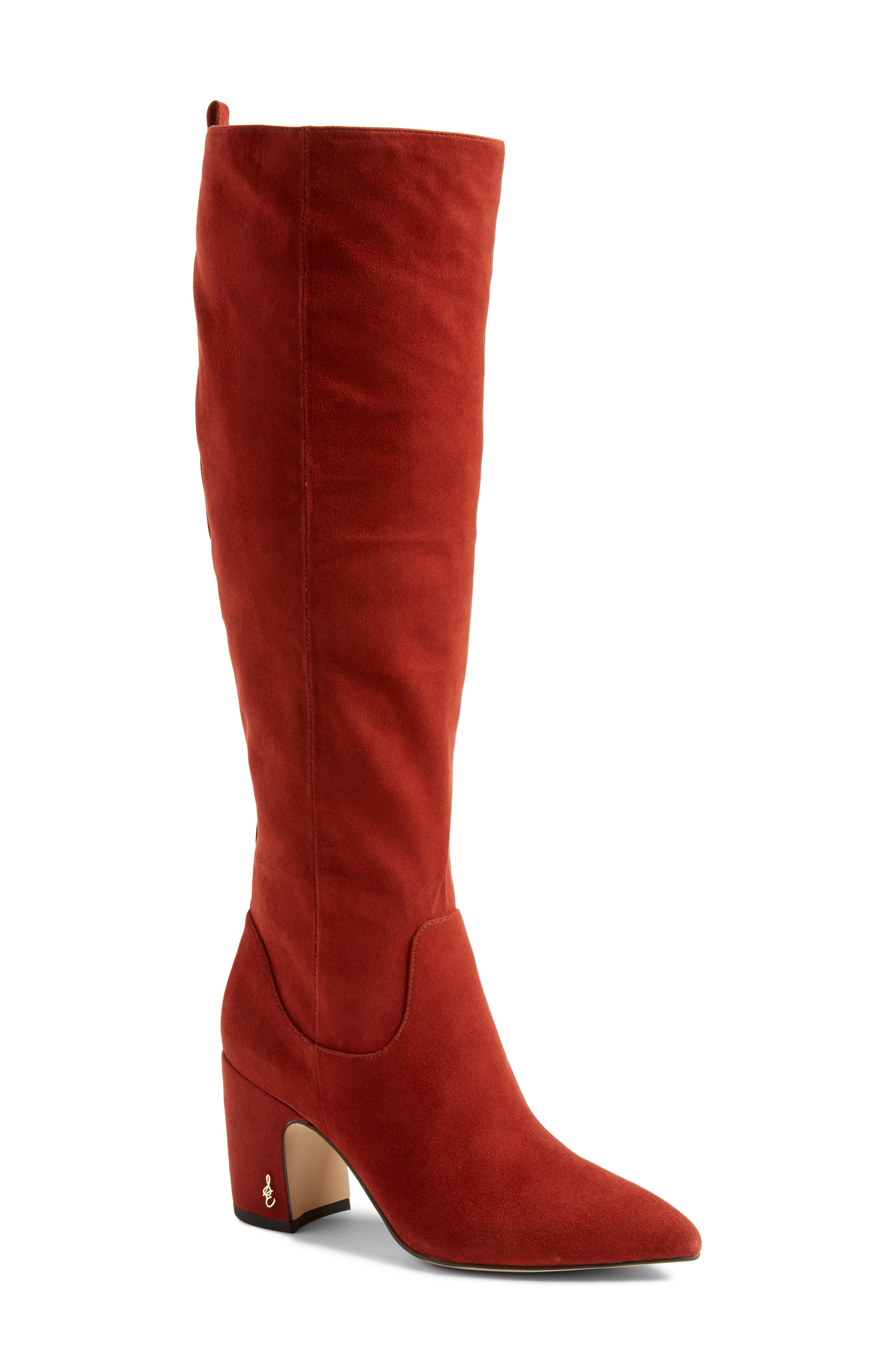 Hai Knee High Boot,                             Main thumbnail 1, color,                             PAPRIKA SUEDE