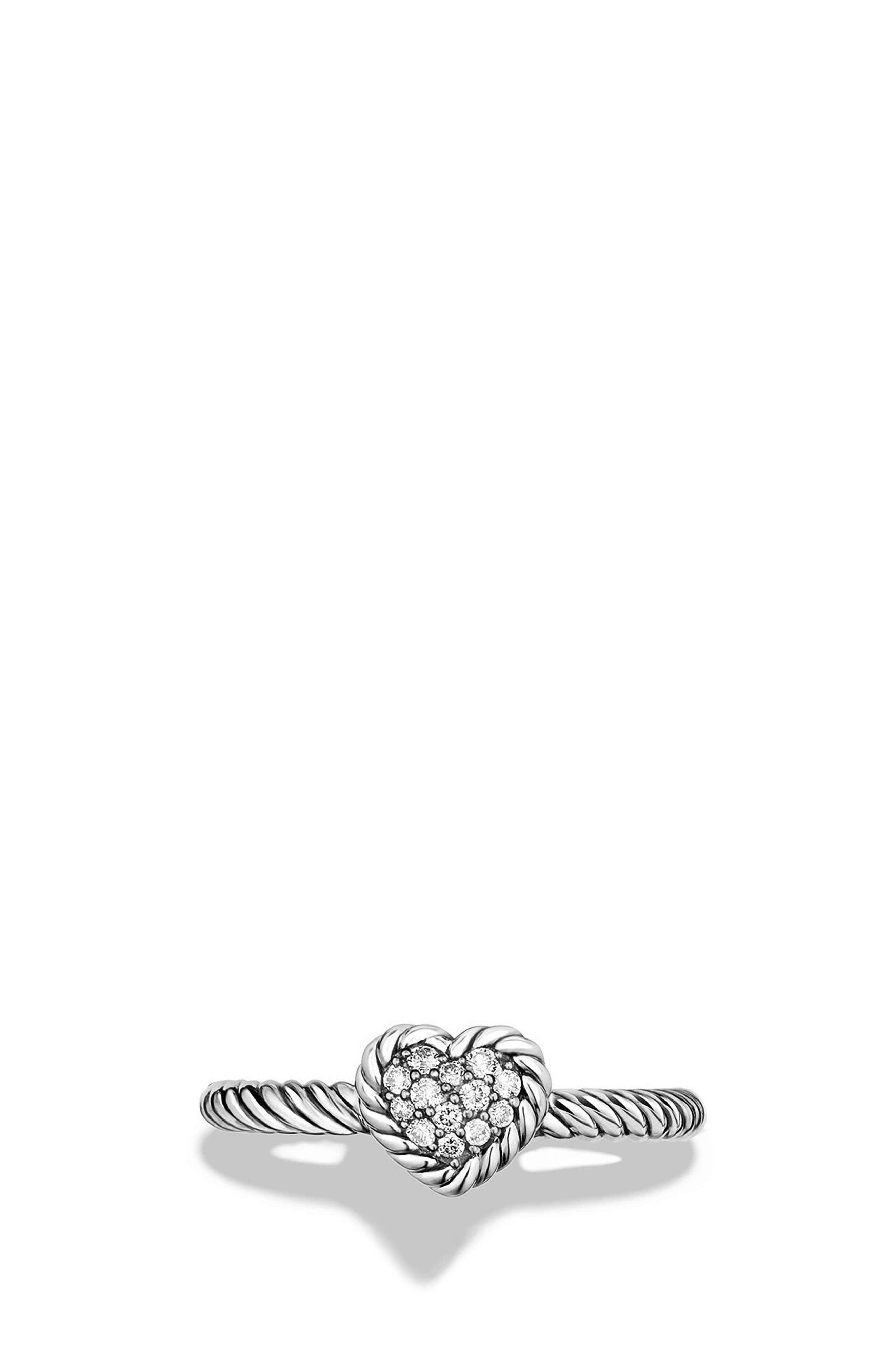 'Châtelaine' Heart Ring with Diamonds,                             Alternate thumbnail 4, color,                             SILVER