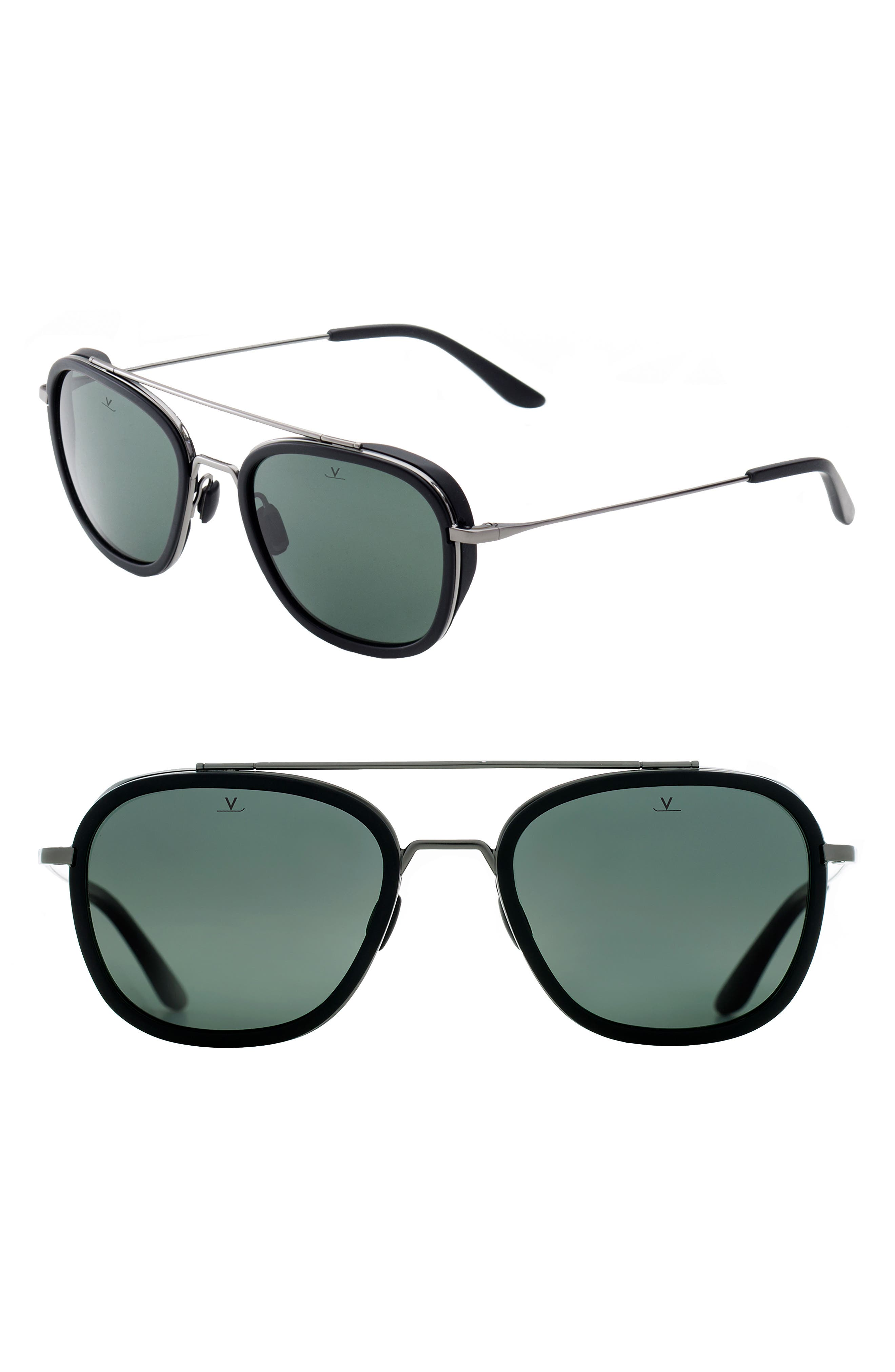 Glacier 54mm Polarized Aviator Sunglasses,                         Main,                         color, MATT BLACK/ GUNMETAL
