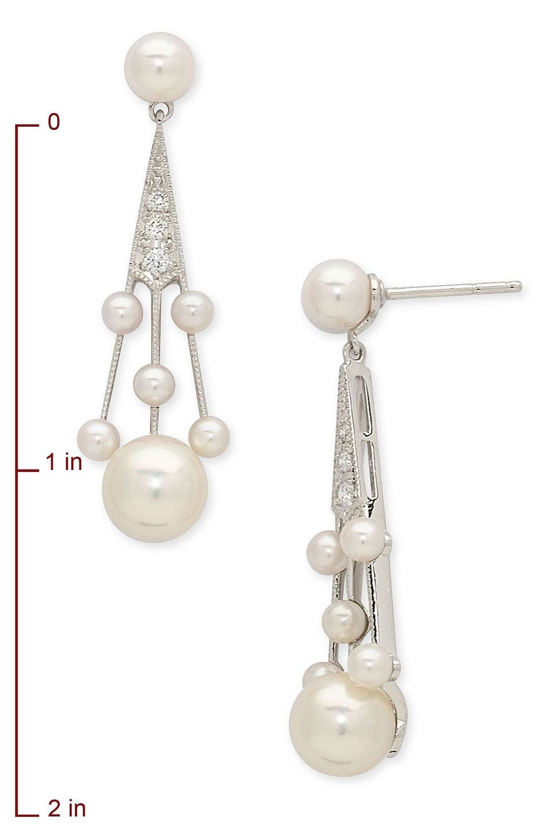 'Legacy Collection' Akoya Cultured Pearl & Diamond Earrings,                             Alternate thumbnail 2, color,                             PEARL/ DIAMOND