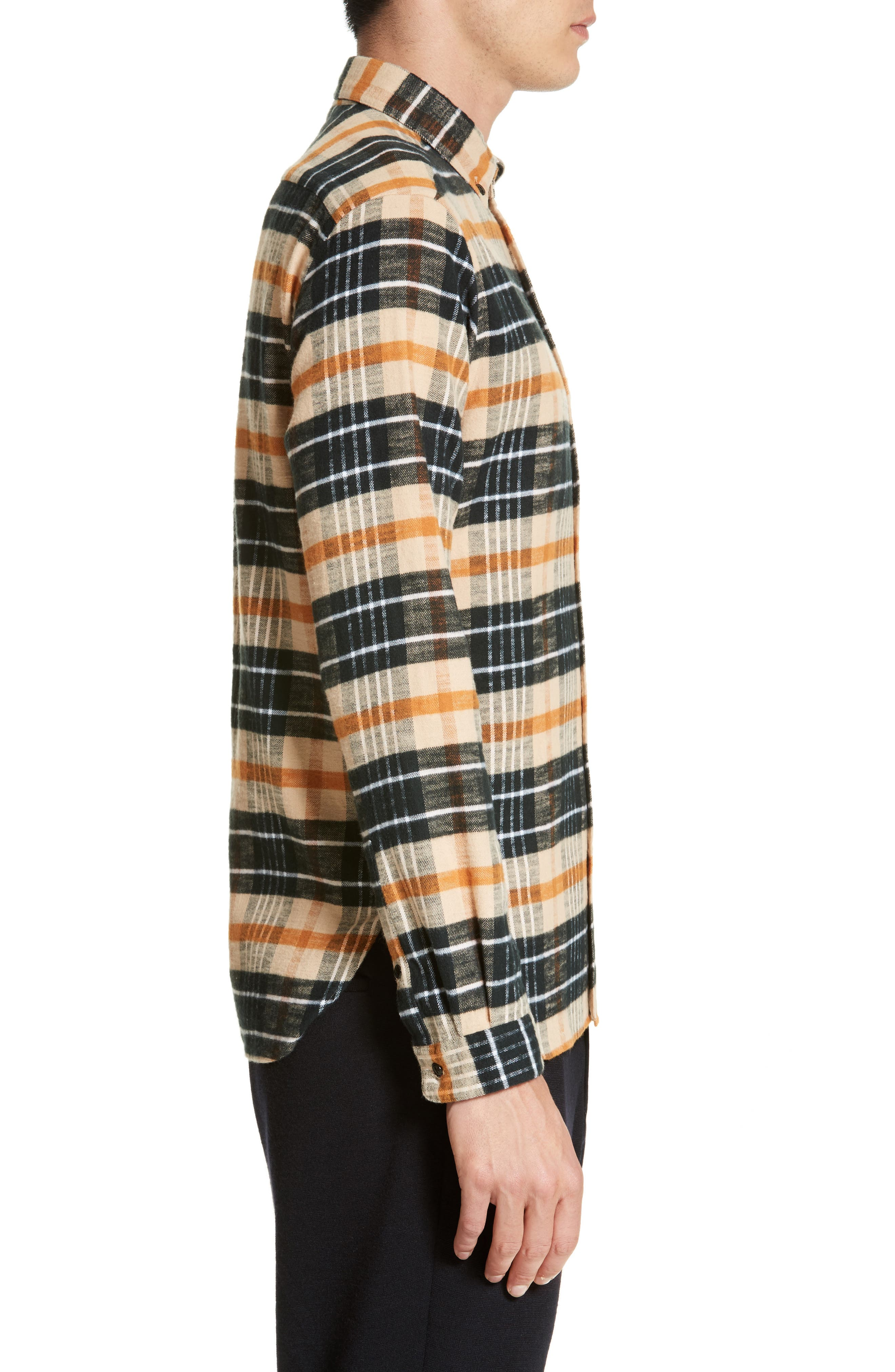 Bradford Plaid Flannel Sport Shirt,                             Alternate thumbnail 3, color,                             270