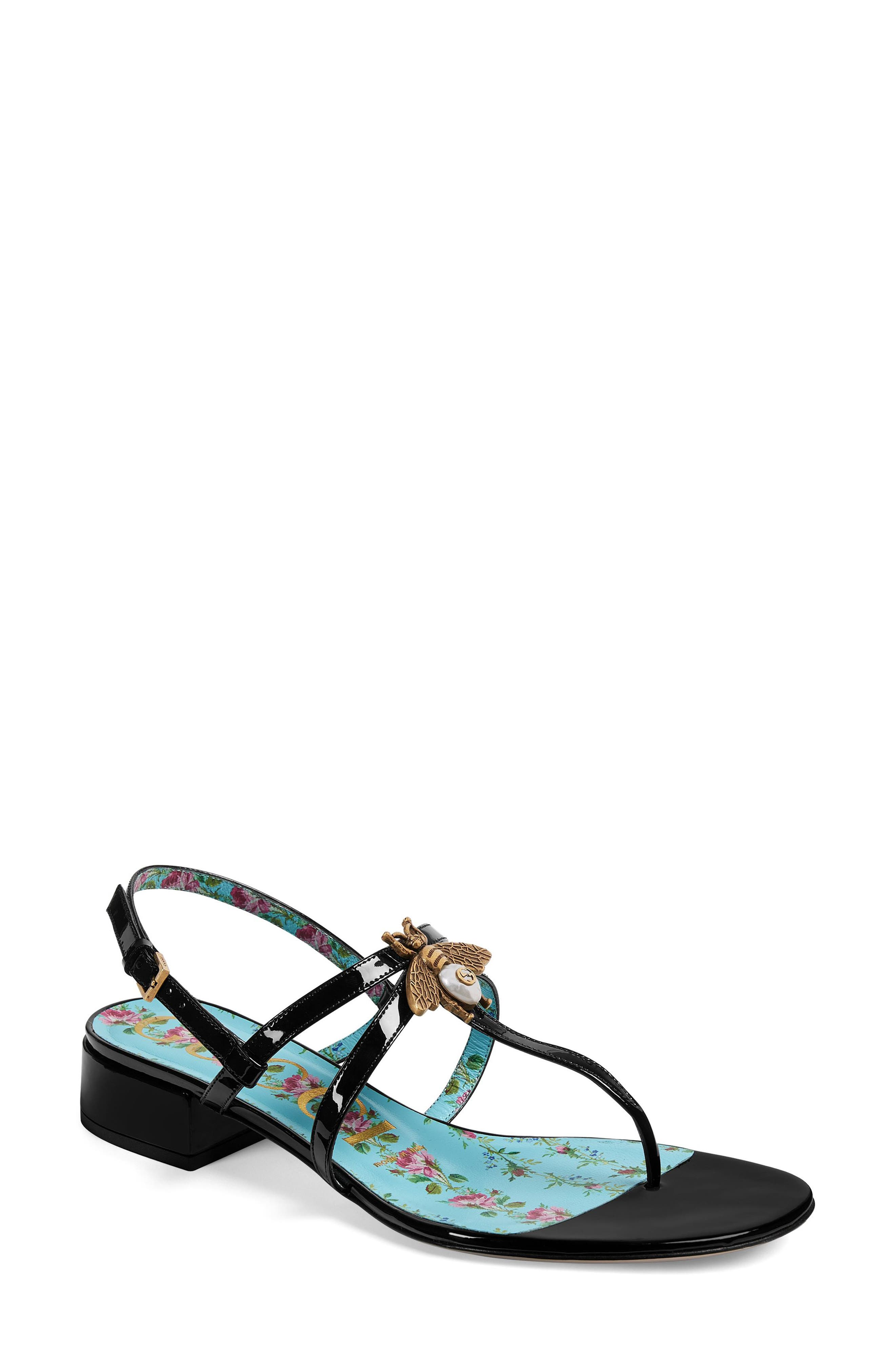Bee Thong Sandal,                         Main,                         color, BLACK