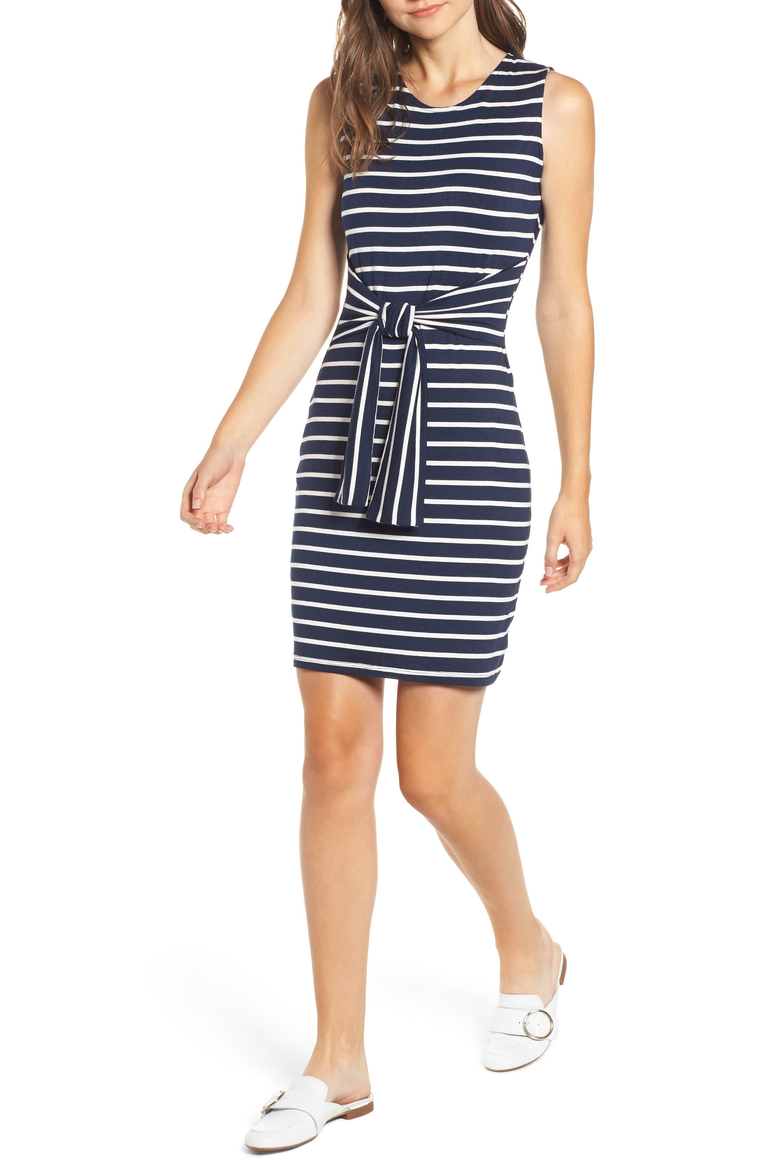 Amour Vert Tie Waist Body-Con Dress, Blue