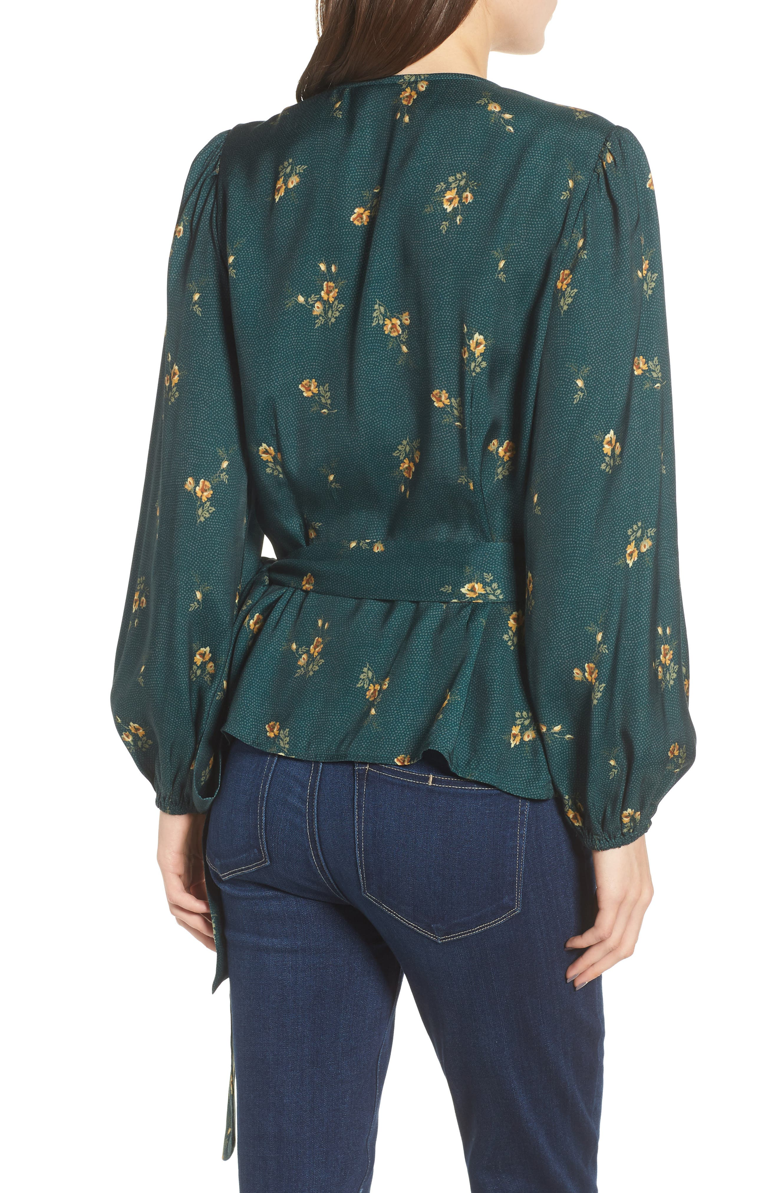 Floral Spot Wrap Top,                             Alternate thumbnail 2, color,                             301