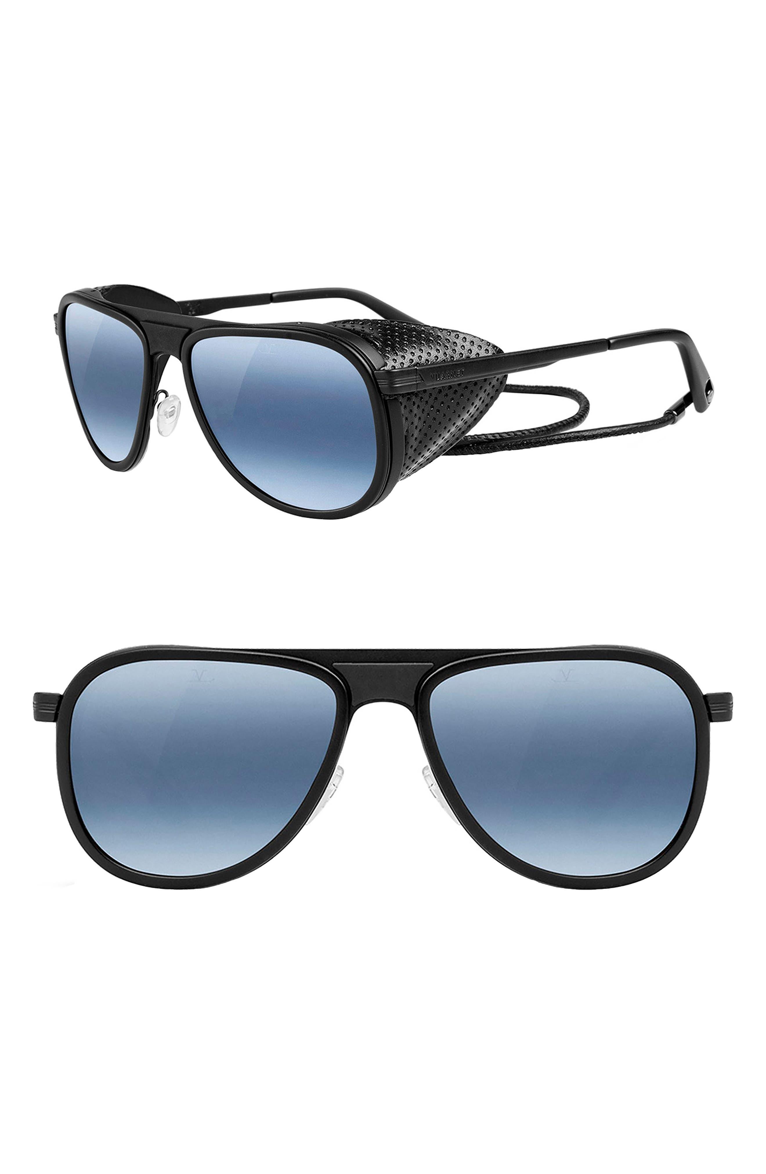 Glacier 57mm Aviator Sunglasses,                         Main,                         color, MATT BLACK/ BLUE POLAR LYNX