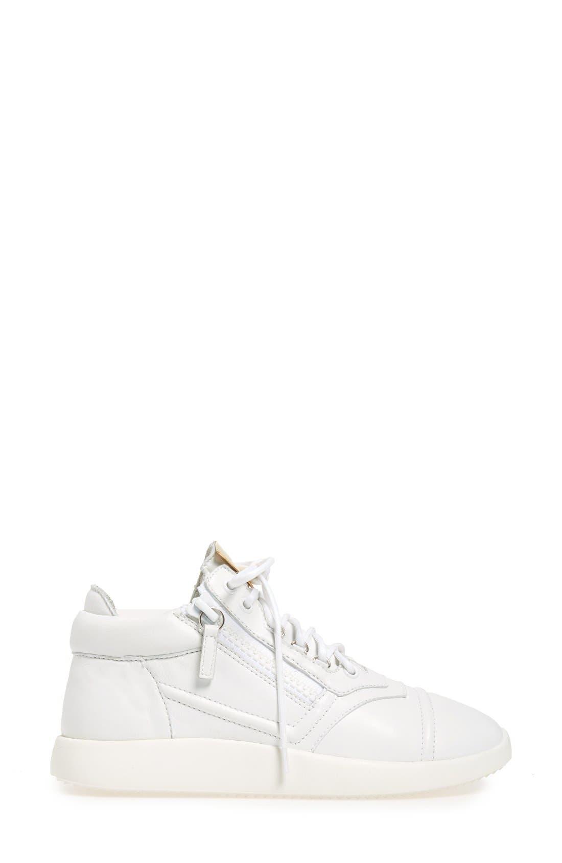 Side Zip Low Top Sneaker,                             Alternate thumbnail 4, color,                             100