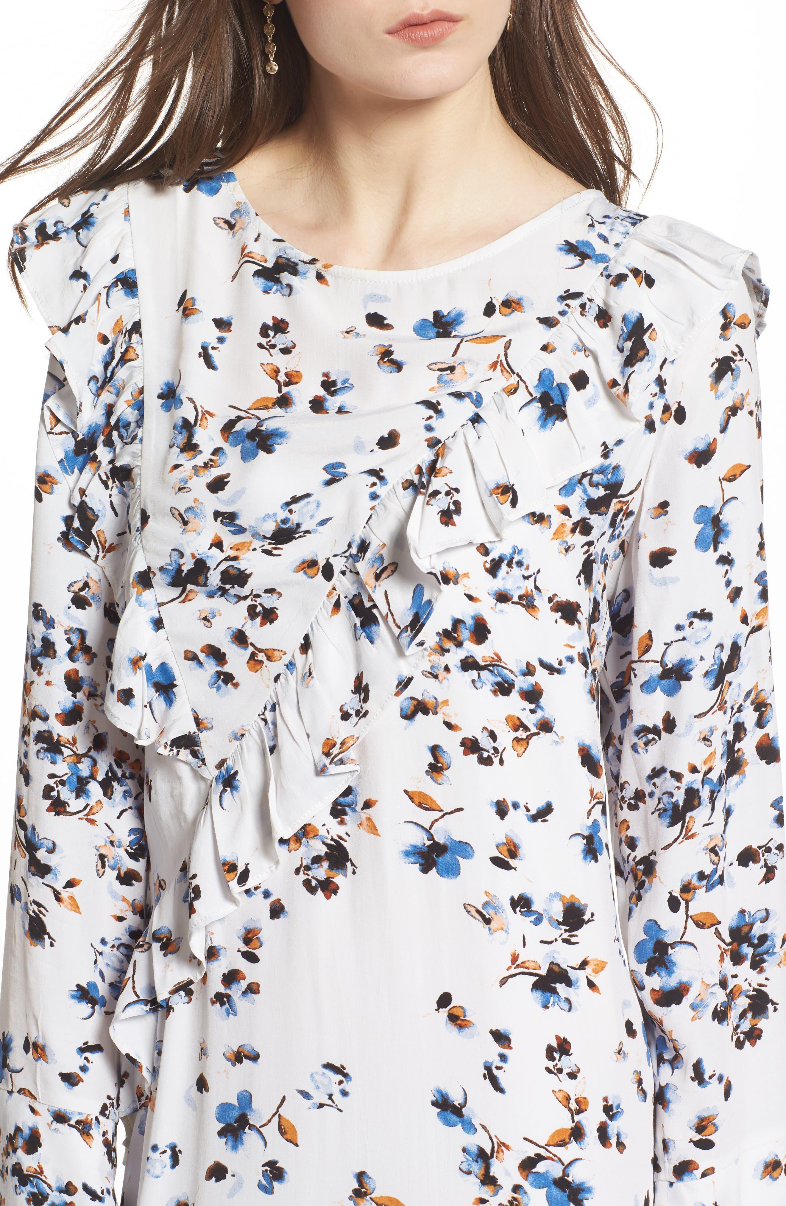 Print Ruffle Maxi Dress,                             Alternate thumbnail 4, color,                             100