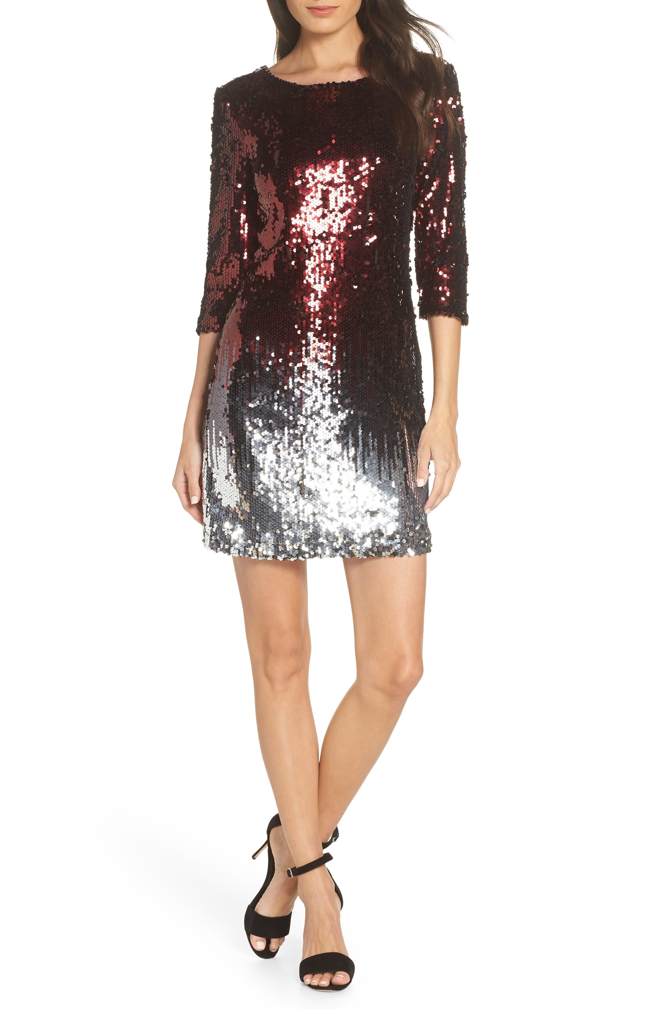 Bb Dakota Elise Sequin Body-Con Dress, Burgundy