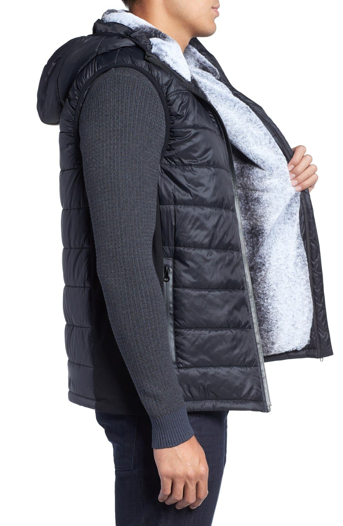 Hooded Faux Fur Lined Vest,                             Alternate thumbnail 3, color,                             013