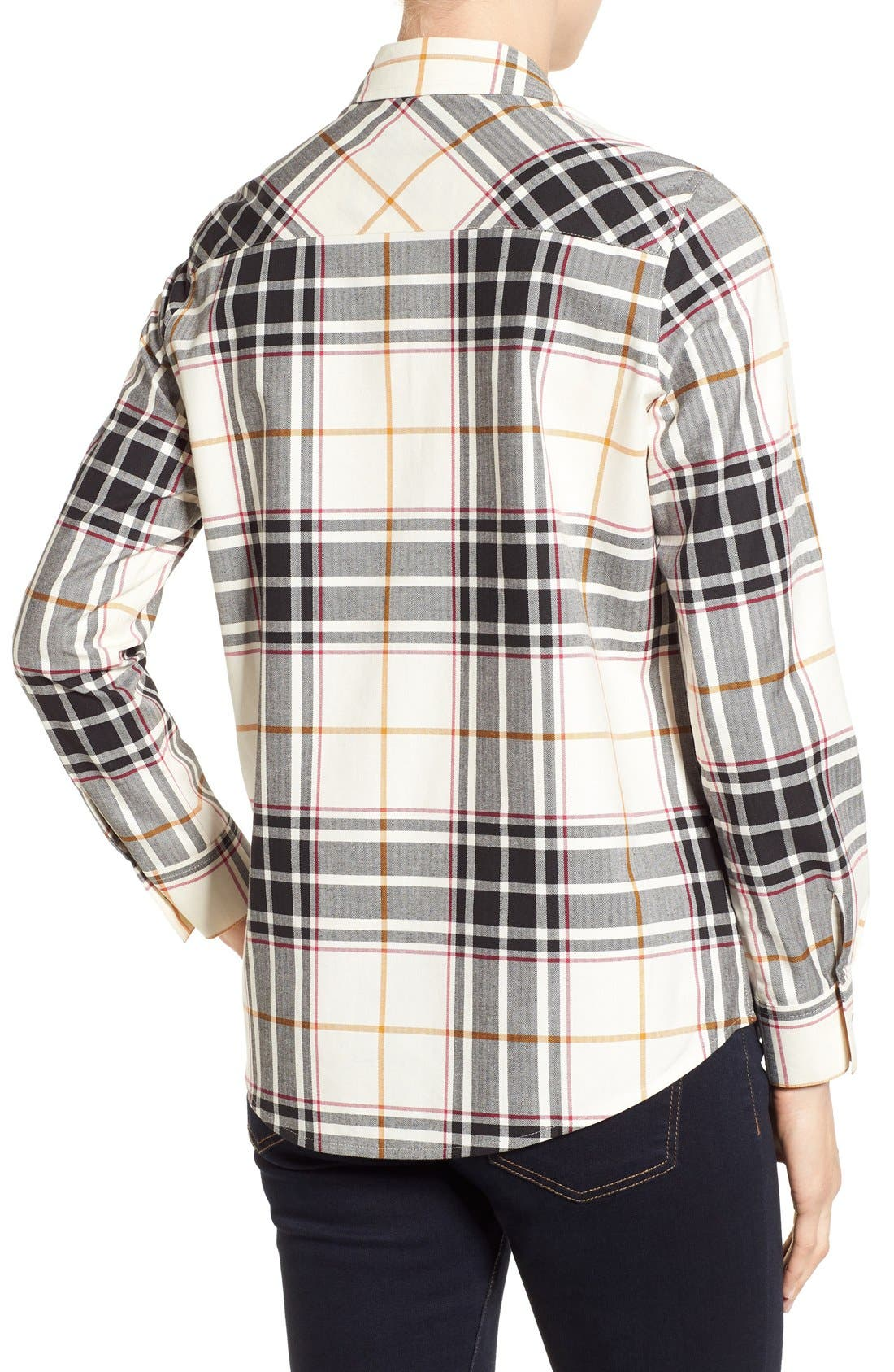 Herringbone Plaid Roll Sleeve Shirt,                             Alternate thumbnail 4, color,                             906