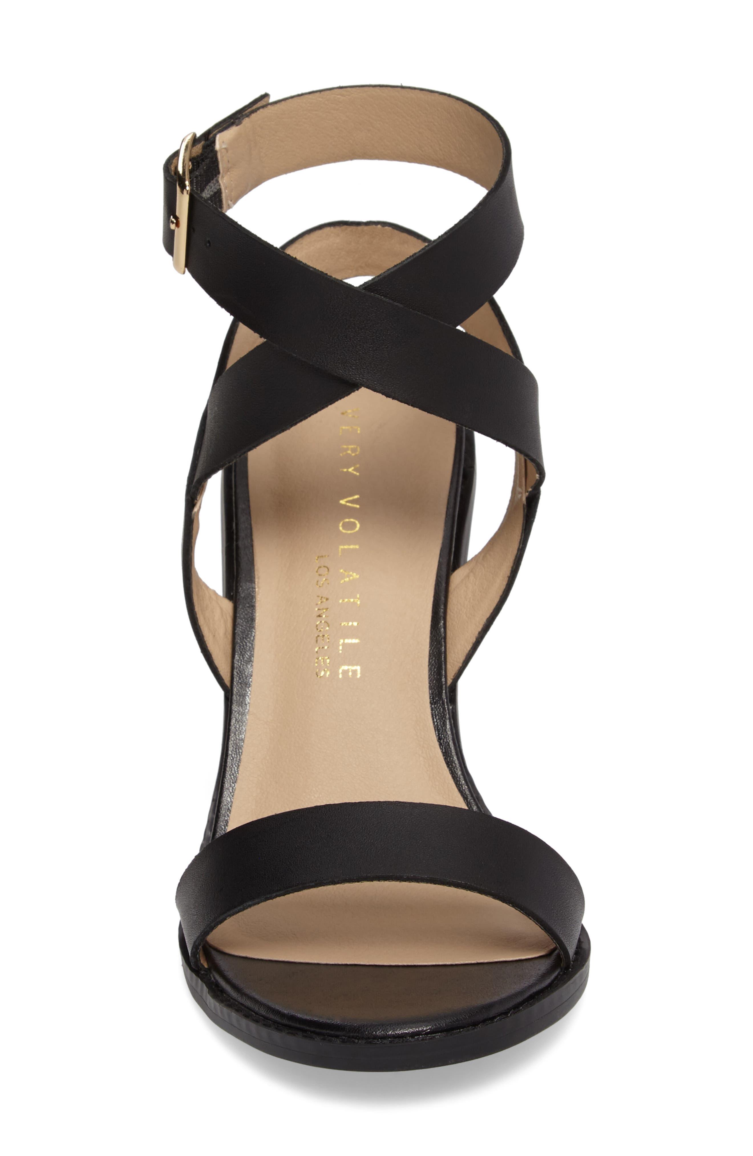 Poshy Ankle Wrap Sandal,                             Alternate thumbnail 4, color,                             BLACK LEATHER