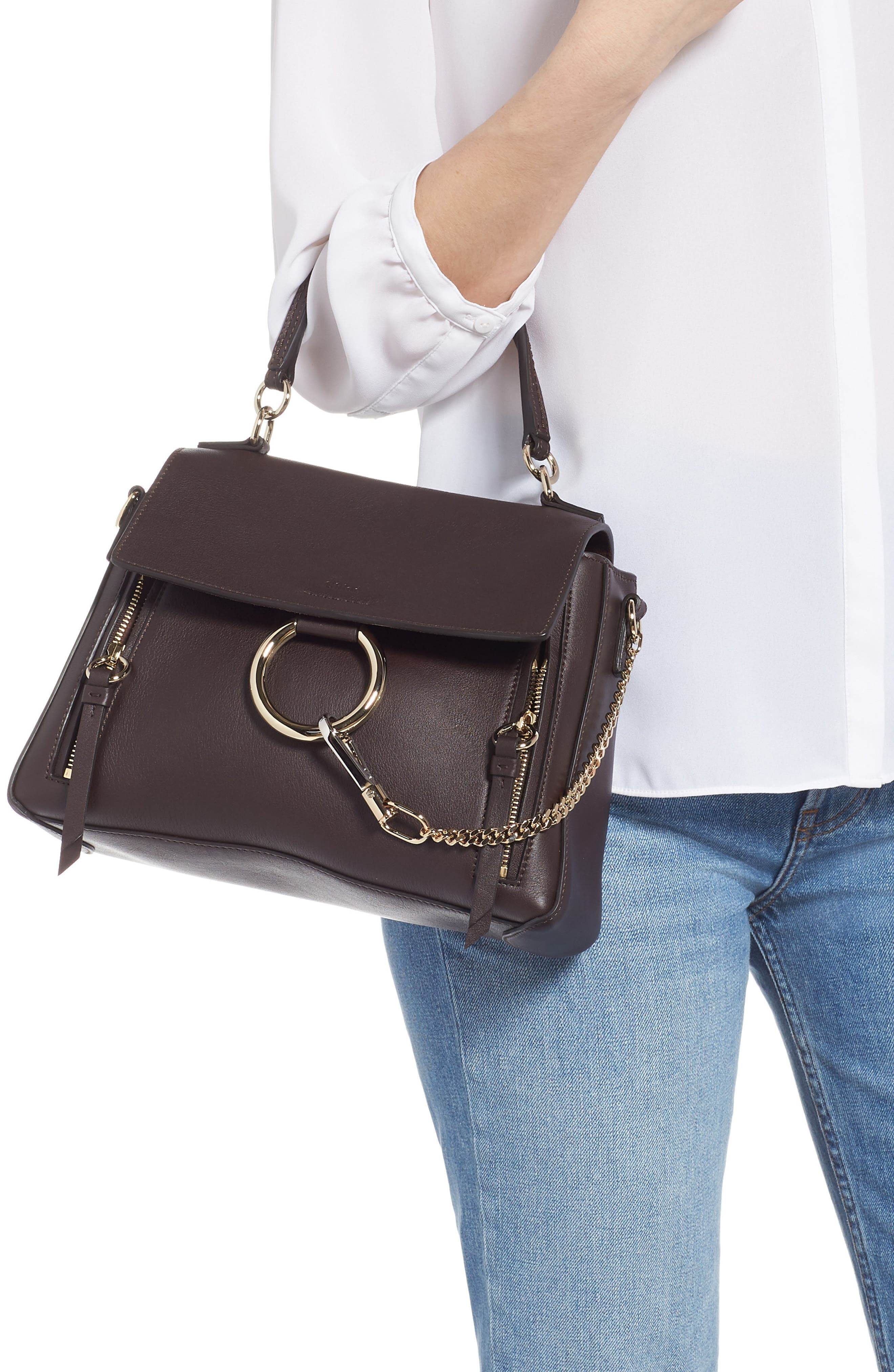 Small Faye Day Leather Shoulder Bag,                             Alternate thumbnail 2, color,                             CARBON BROWN