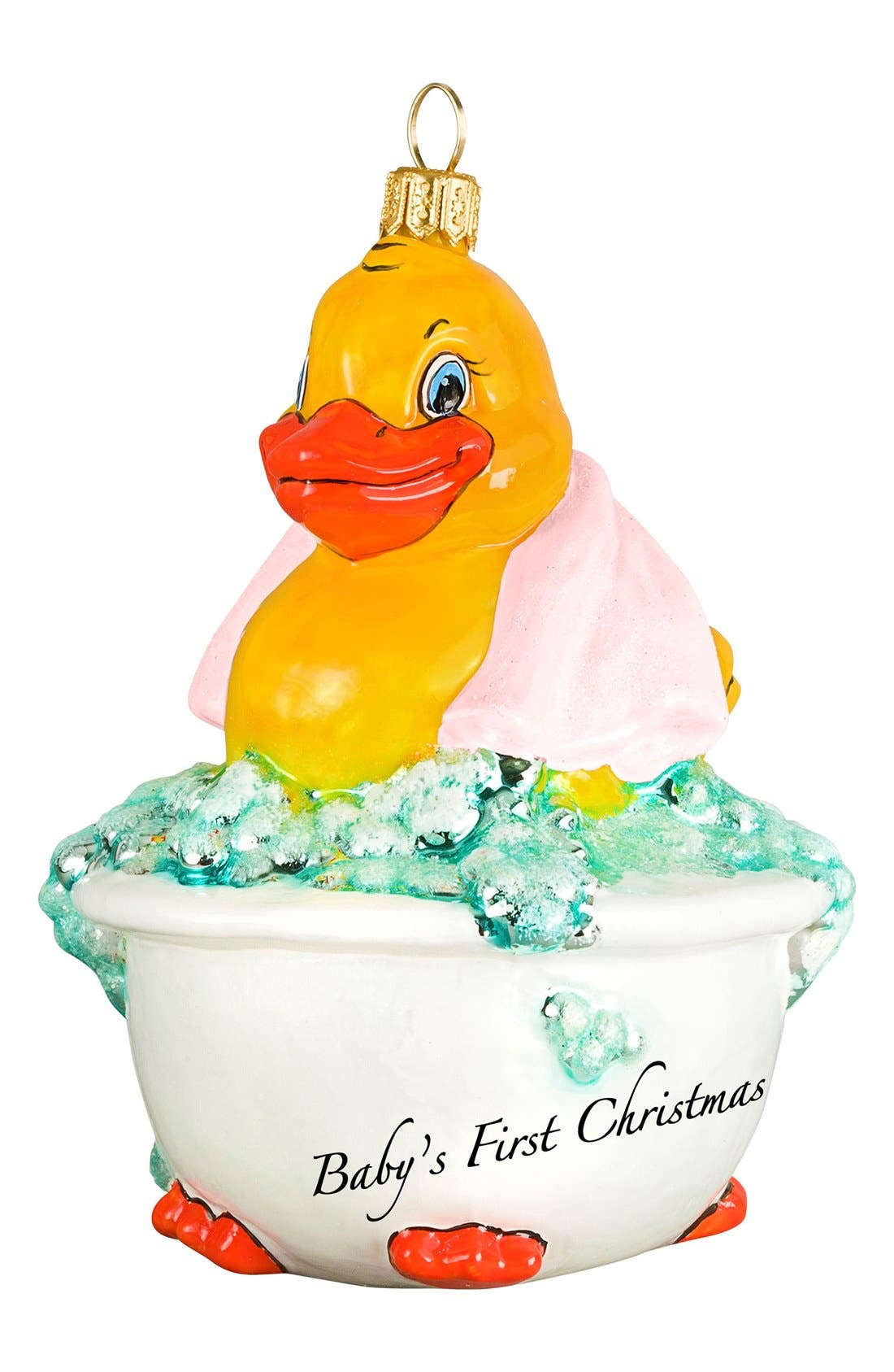 'Baby's First - Rubber Ducky' Ornament,                             Main thumbnail 1, color,                             PINK