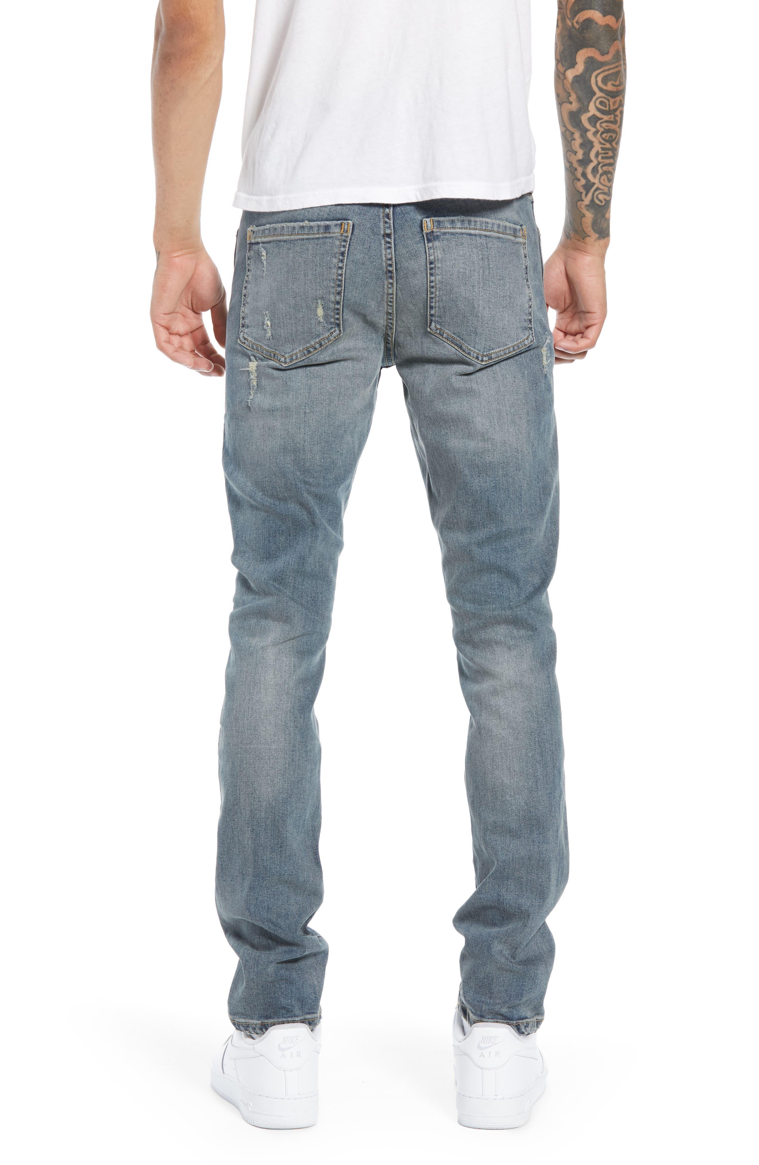 Snap Skinny Fit Jeans,                             Alternate thumbnail 2, color,                             LIGHT OLD DESTROY