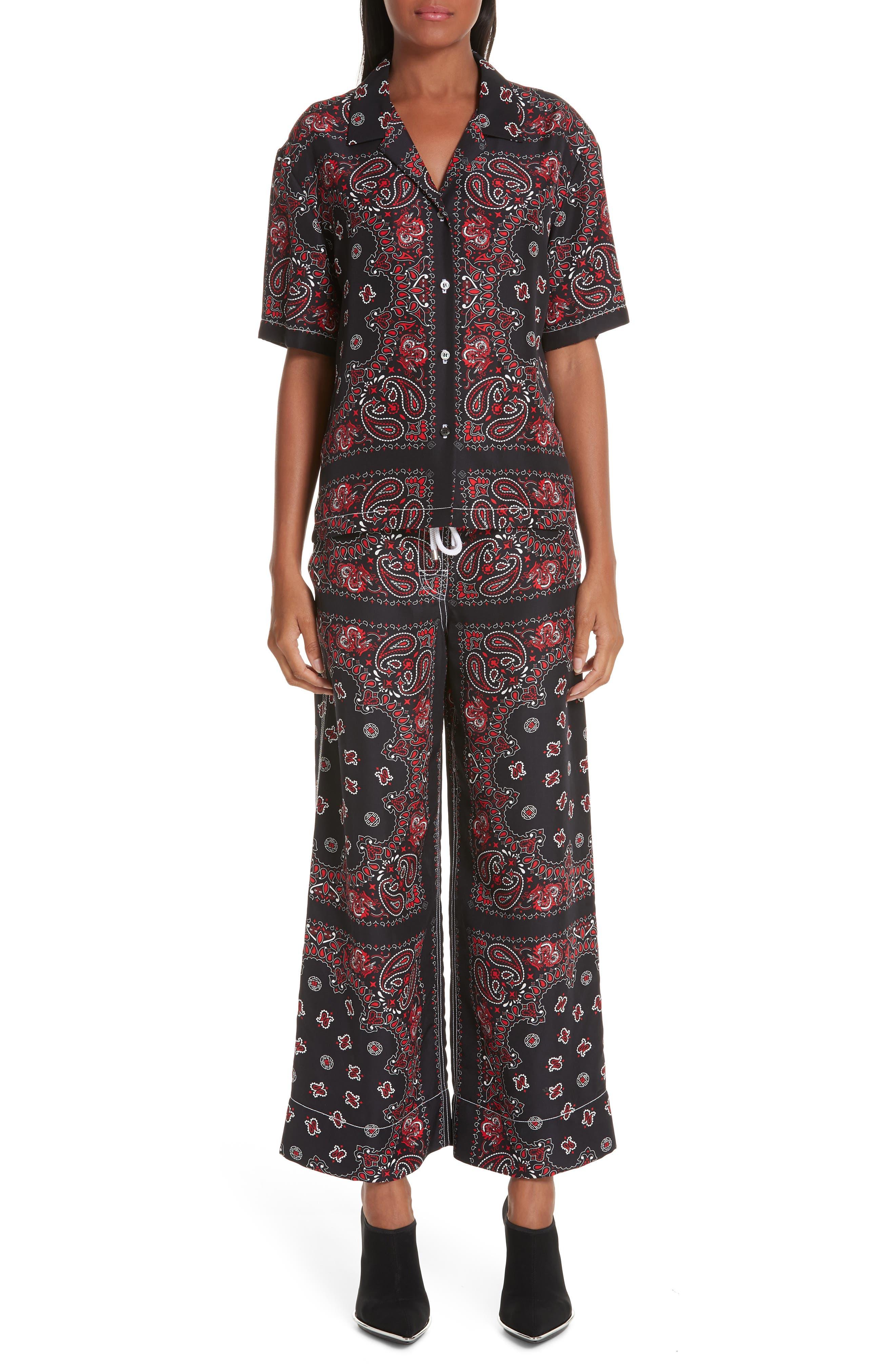 ALEXANDER WANG,                             Bandana Print Silk Shirt,                             Alternate thumbnail 8, color,                             BLACK/ RED