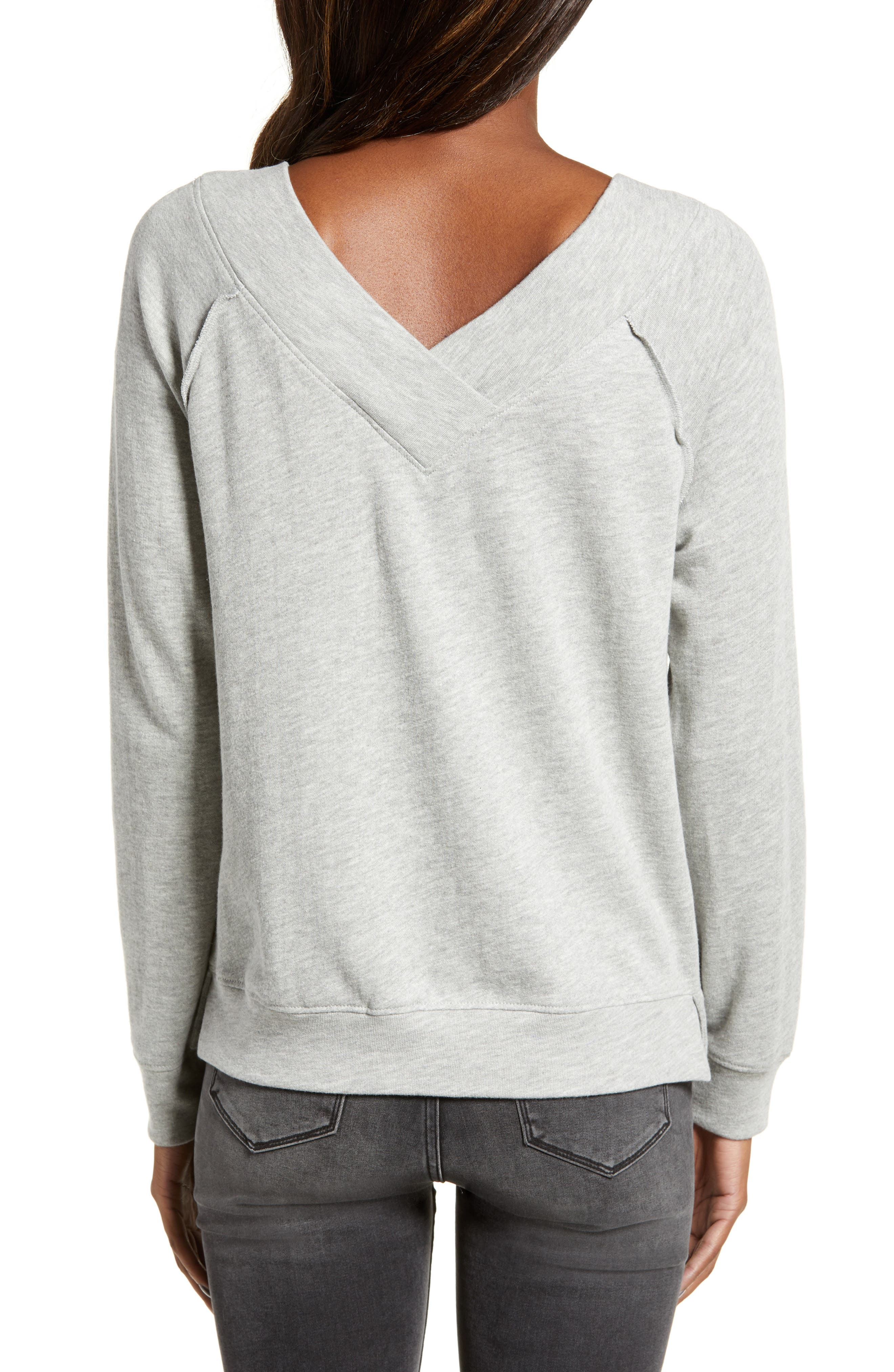 Double V-neck Sweatshirt,                             Alternate thumbnail 3, color,                             GREY PEARL HEATHER