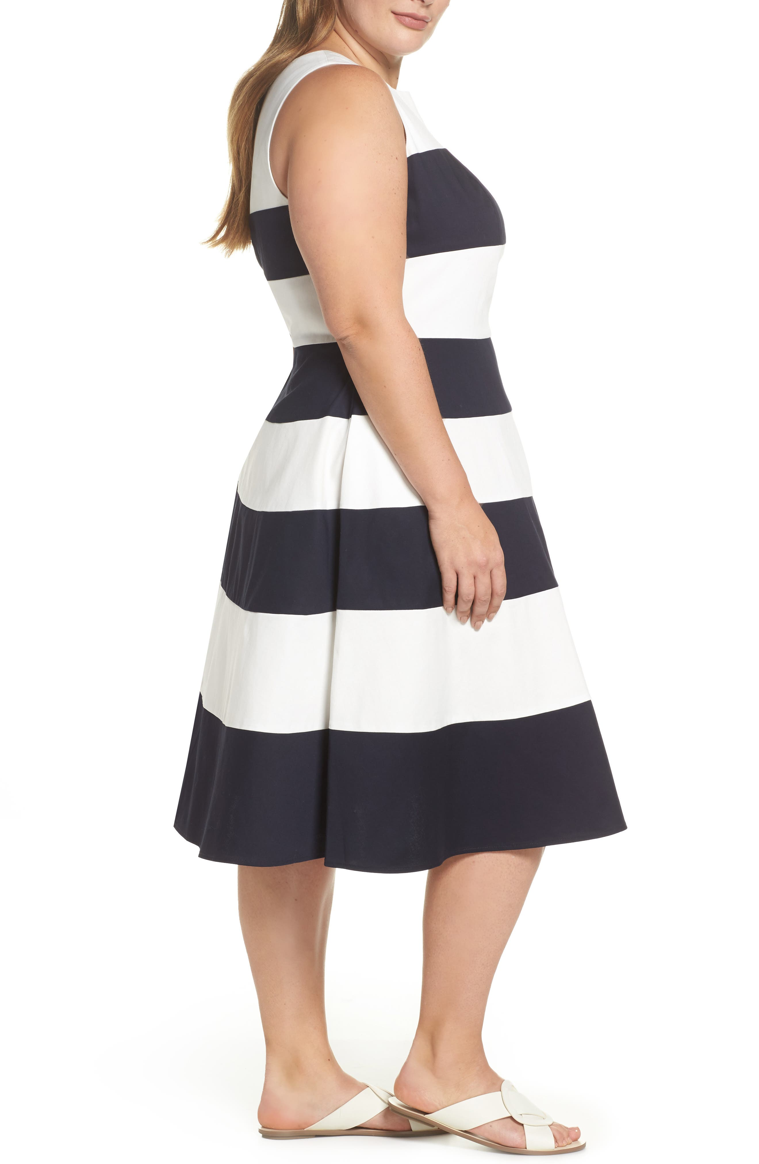 Stripe Fit & Flare Dress,                             Alternate thumbnail 3, color,                             NAVY- WHITE STRIPE