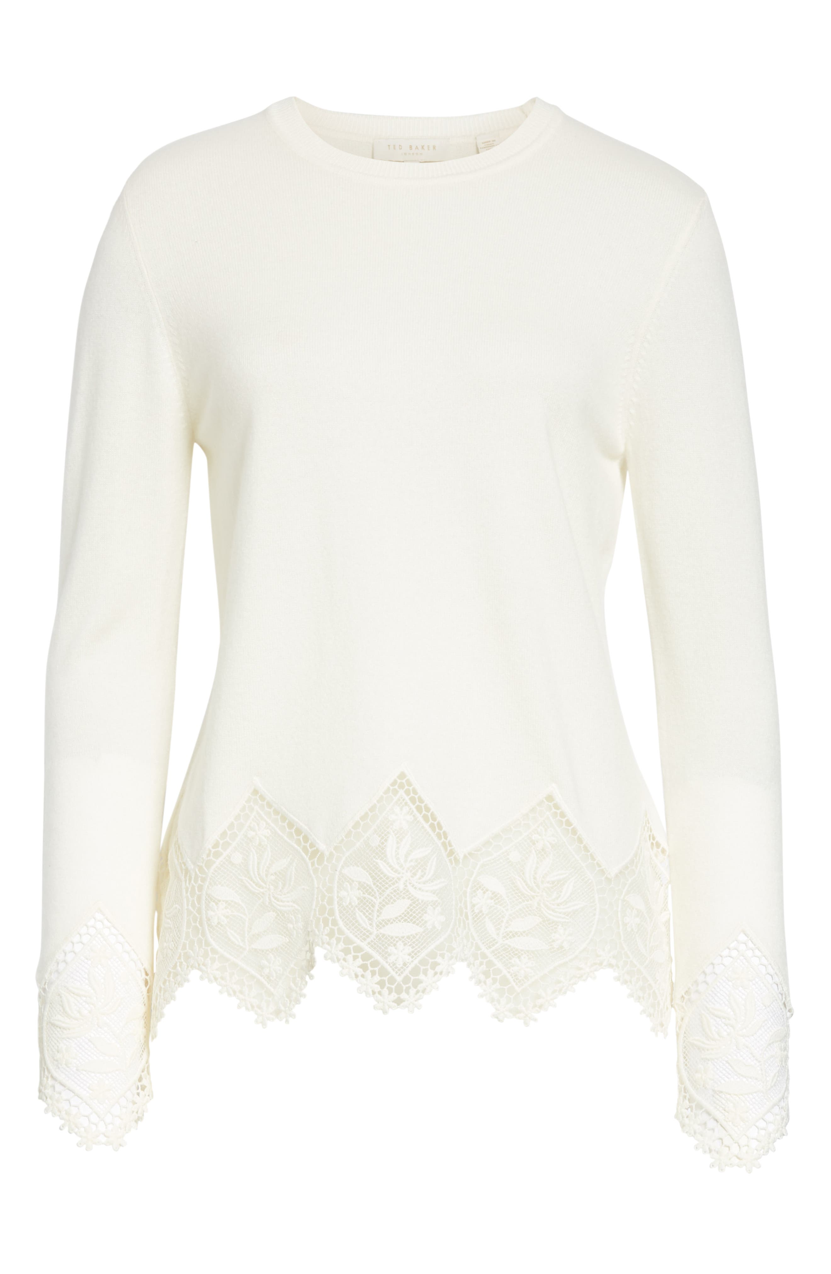 Aylex Lace Detail Wool Cashmere Blend Sweater,                             Alternate thumbnail 6, color,                             CREAM