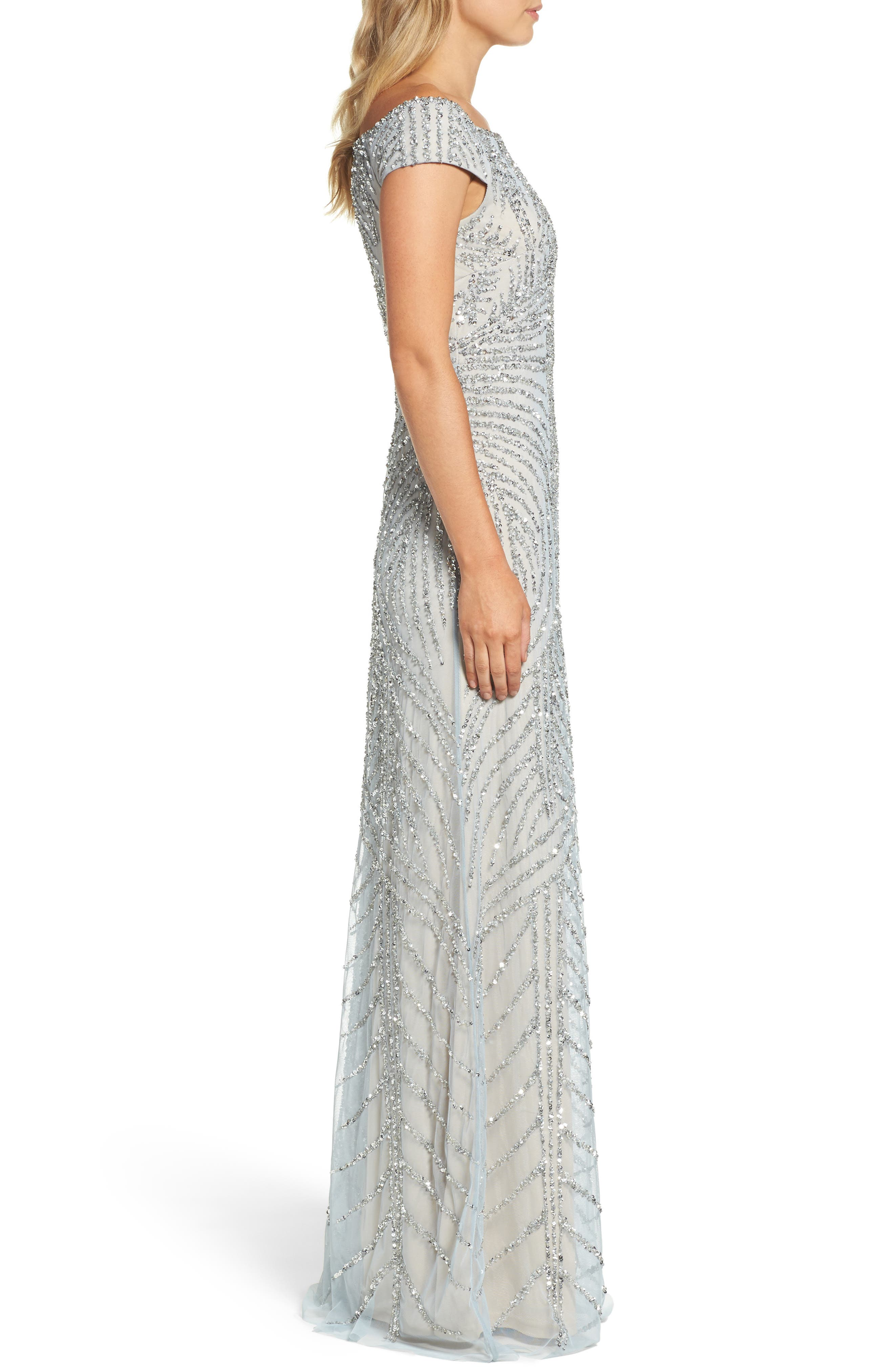 Off the Shoulder Beaded Gown,                             Alternate thumbnail 3, color,