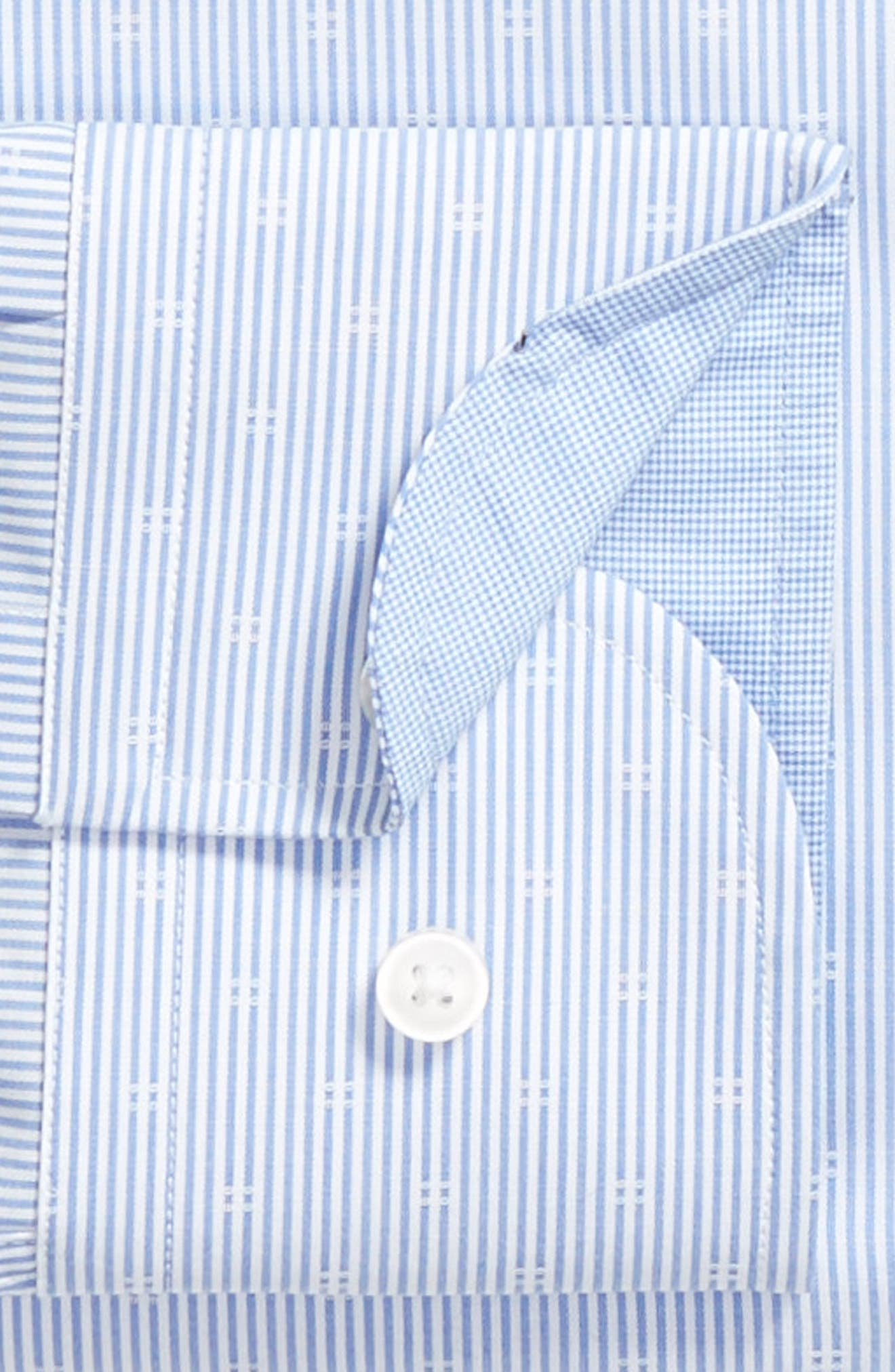 Jesse Slim Fit Stripe Dress Shirt,                             Alternate thumbnail 6, color,                             BLUE