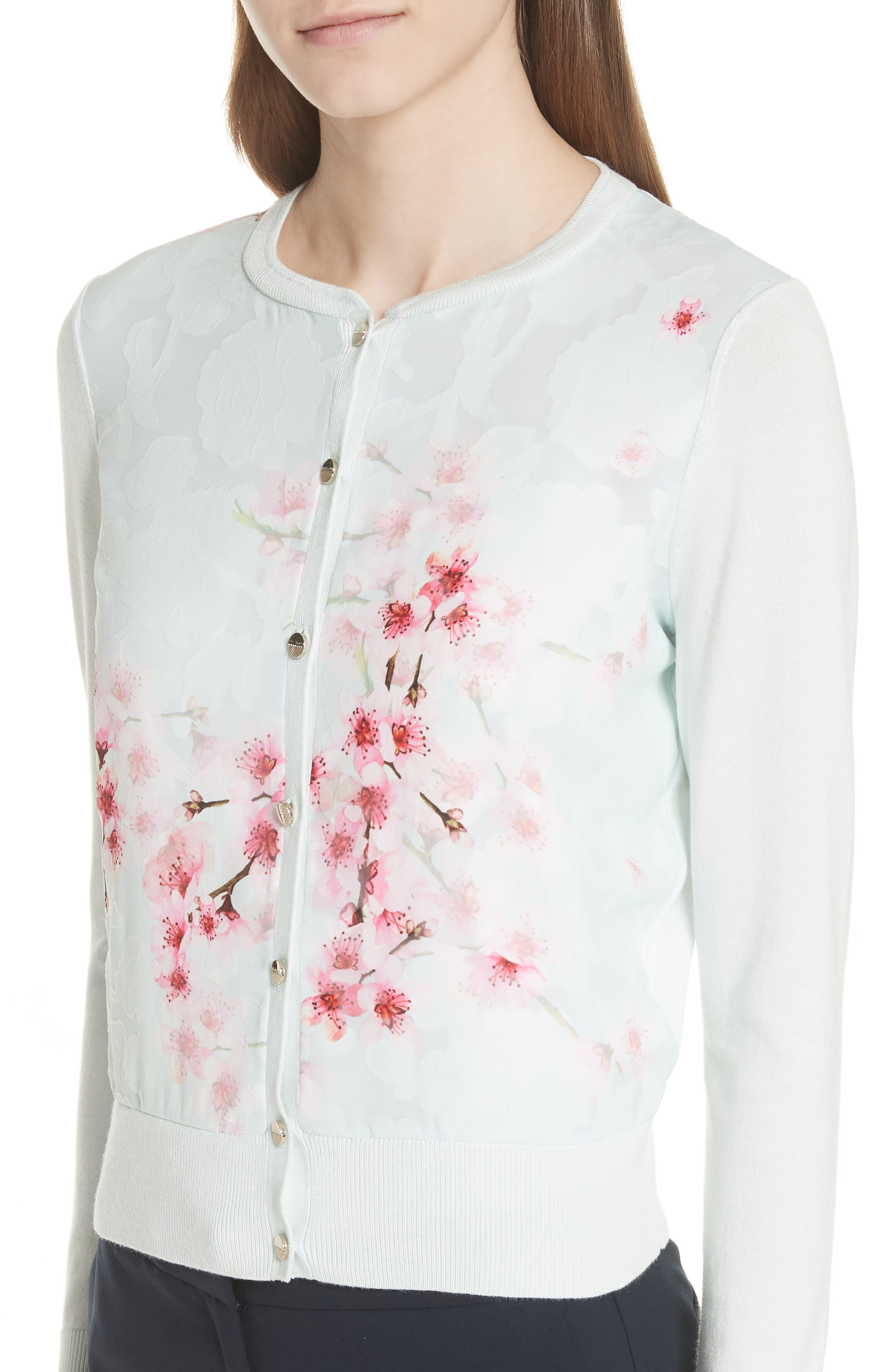 Blossom Woven Front Cardigan,                             Alternate thumbnail 4, color,                             331
