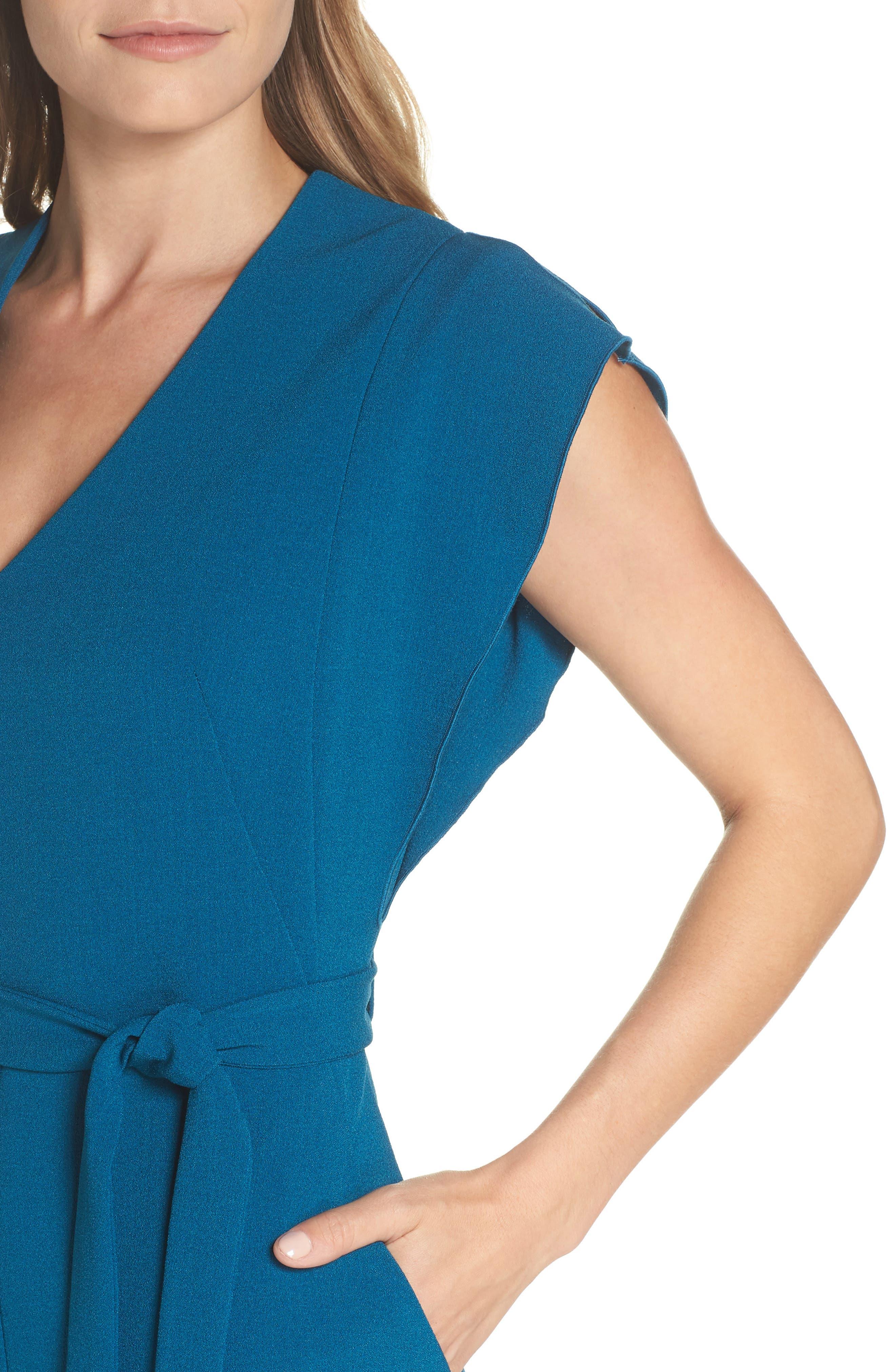 Ruffle Sleeve Sheath Dress,                             Alternate thumbnail 4, color,                             TEAL