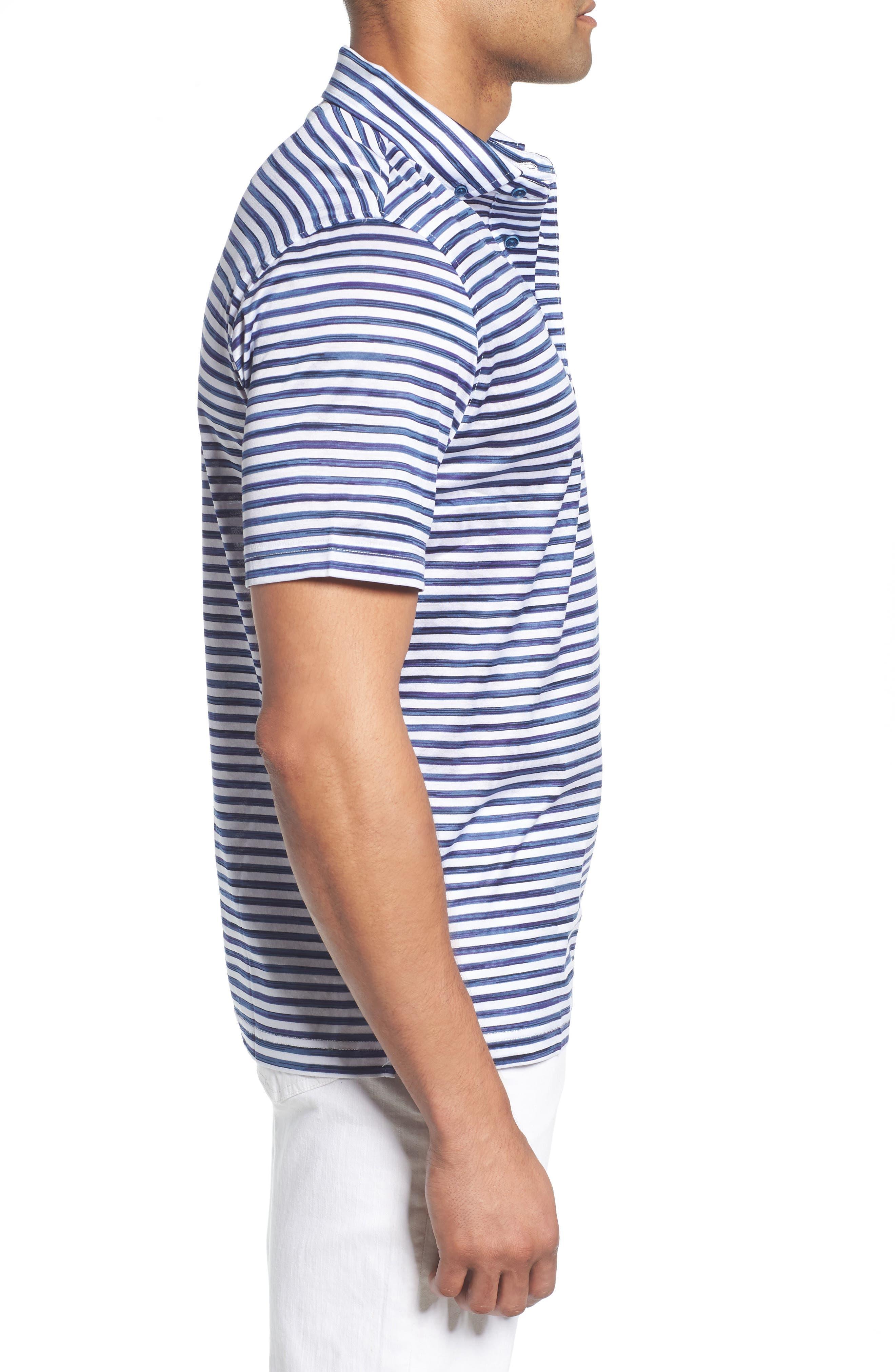 Stripe Knit Polo,                             Alternate thumbnail 3, color,                             WHITE
