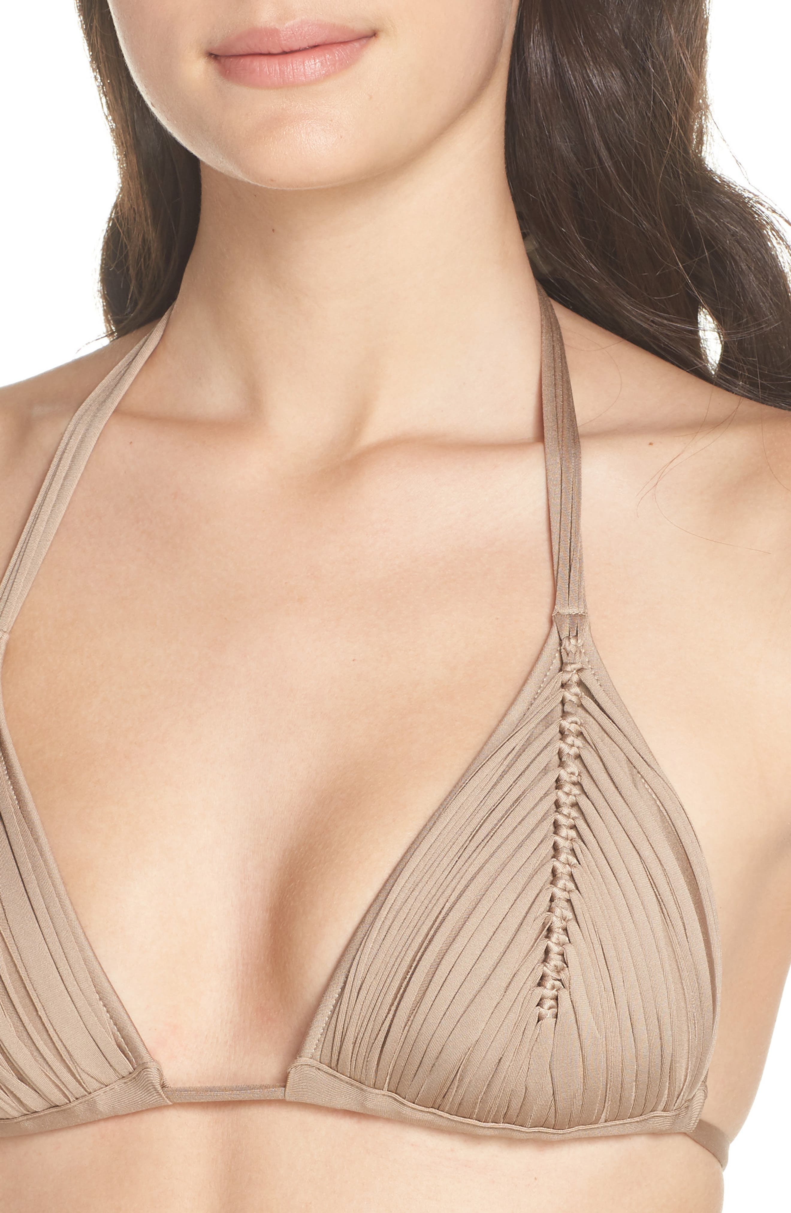 Isla Triangle Bikini Top,                             Alternate thumbnail 4, color,                             SANDSTONE