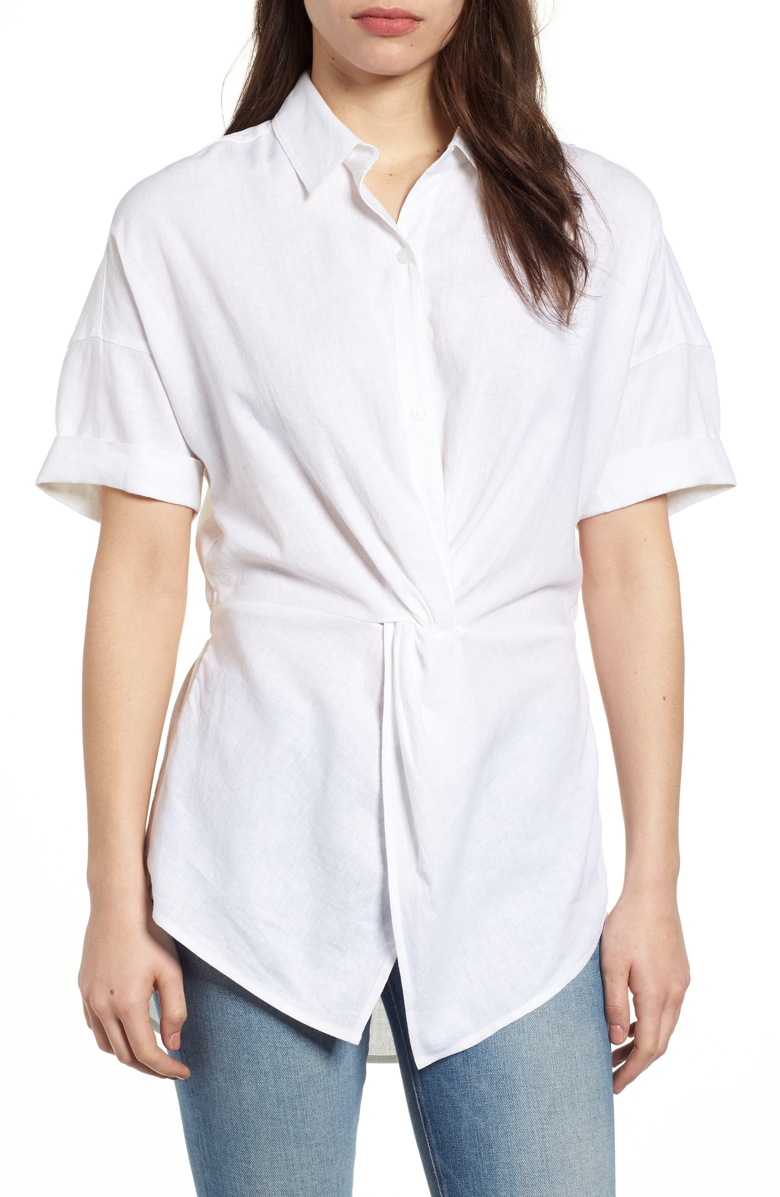 Twist Front Linen Blend Shirt,                         Main,                         color, 100