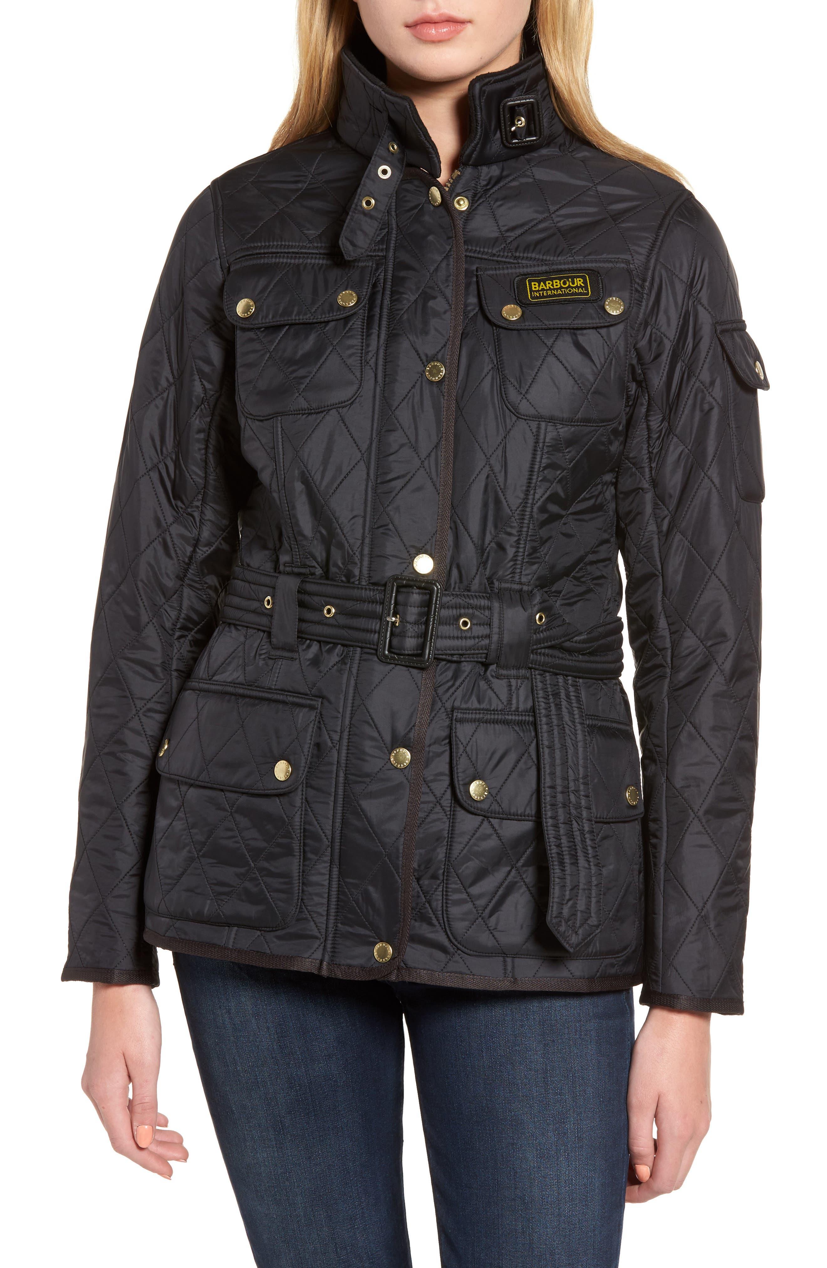 Water Resistant Polarquilt Moto Jacket,                             Main thumbnail 1, color,                             BLACK / BLACK