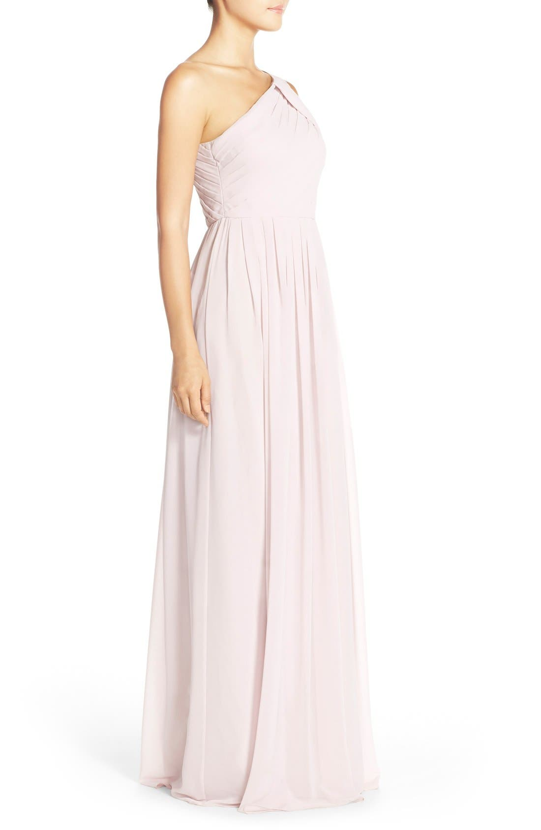 'Chloe' One-Shoulder Pleat Chiffon Gown,                             Alternate thumbnail 11, color,