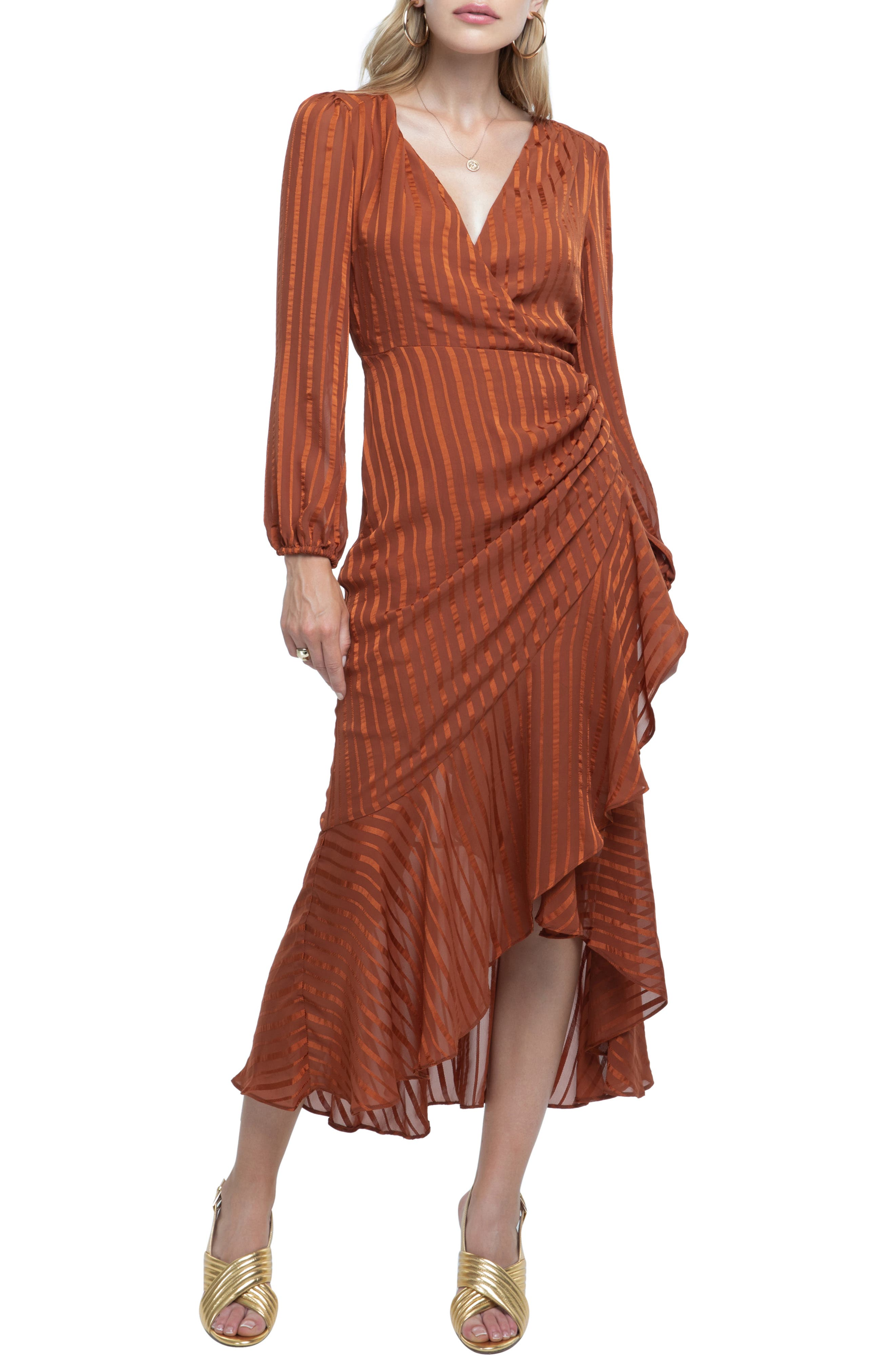 Side Cinched Ruffle Hem Dress,                             Main thumbnail 1, color,                             RUST