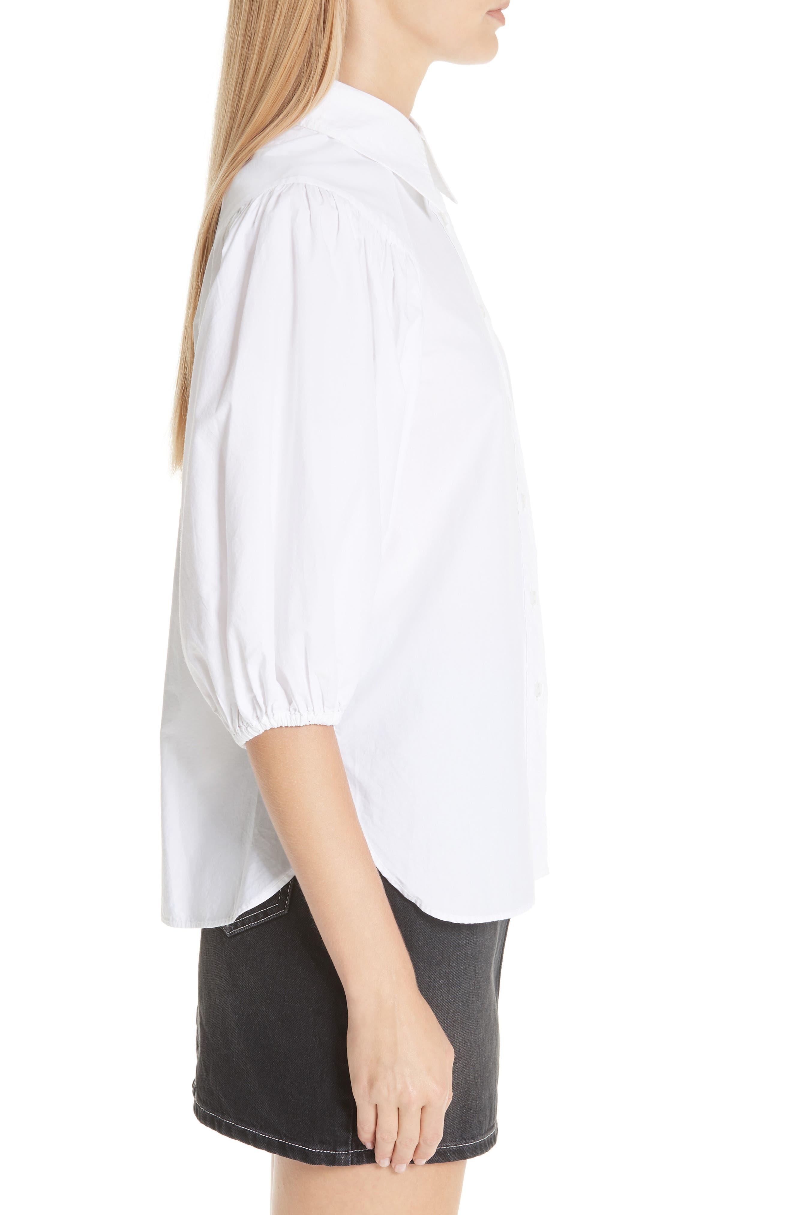 Cotton Poplin Shirt,                             Alternate thumbnail 3, color,                             BRIGHT WHITE 151