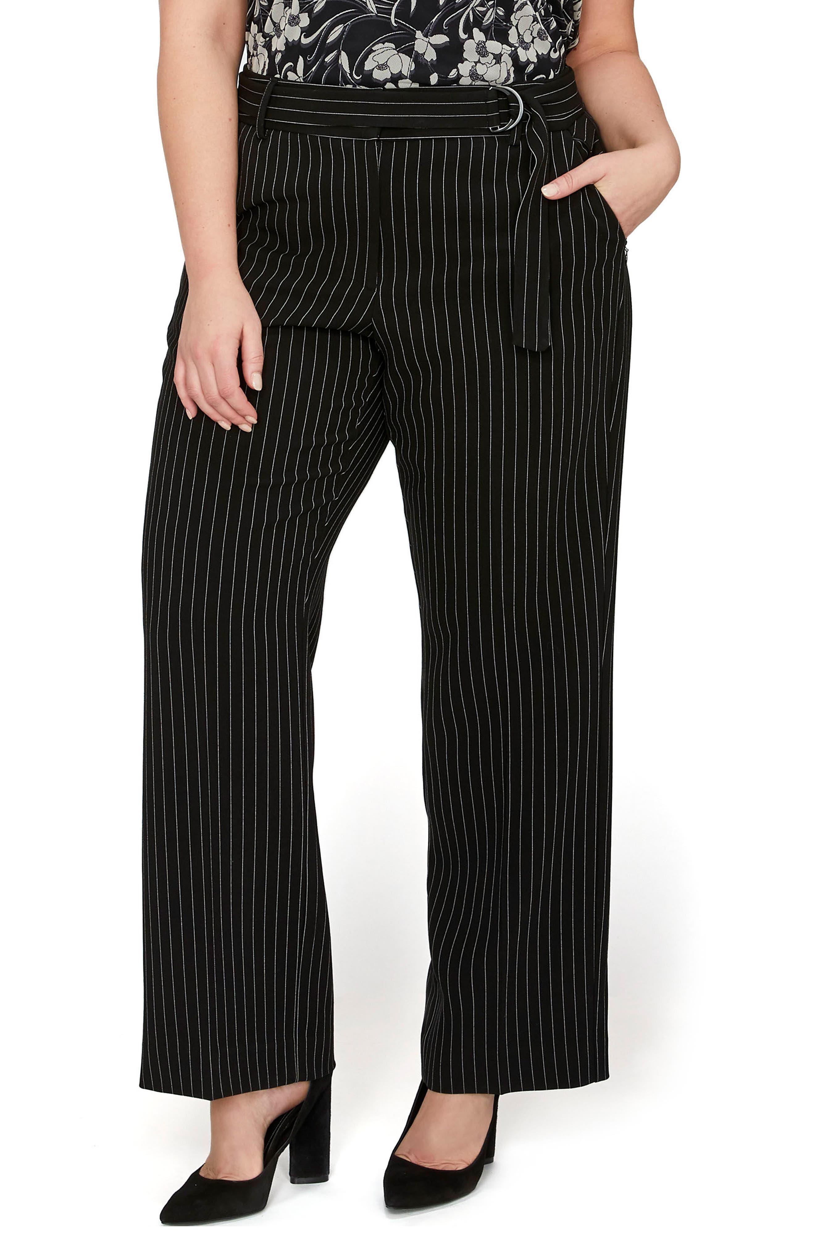 Pinstripe Straight Leg Pants,                         Main,                         color, 010
