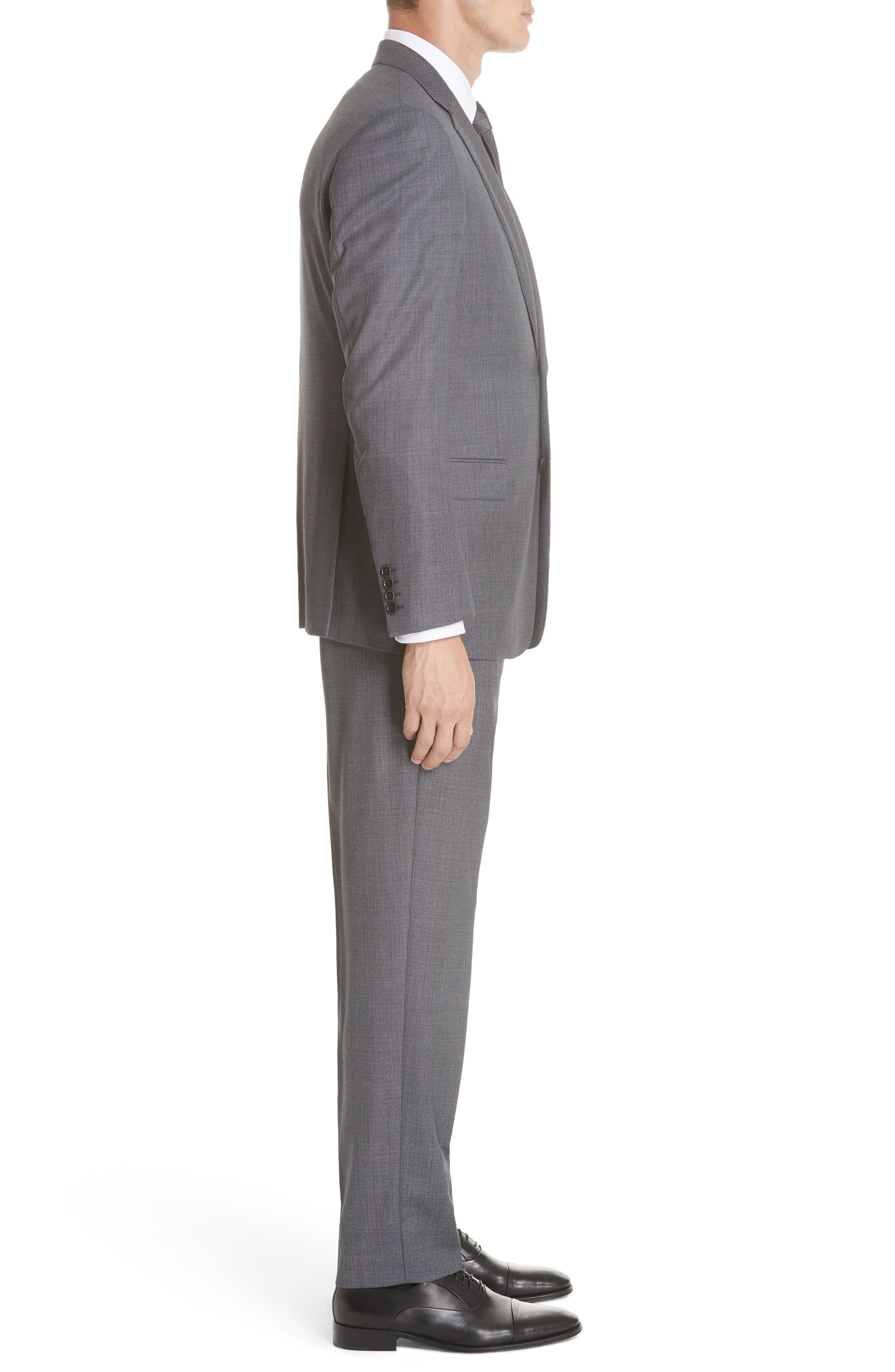 G-Line Trim Fit Bird's Eye Wool Suit,                             Alternate thumbnail 3, color,                             GREY/ LIGHT BLUE