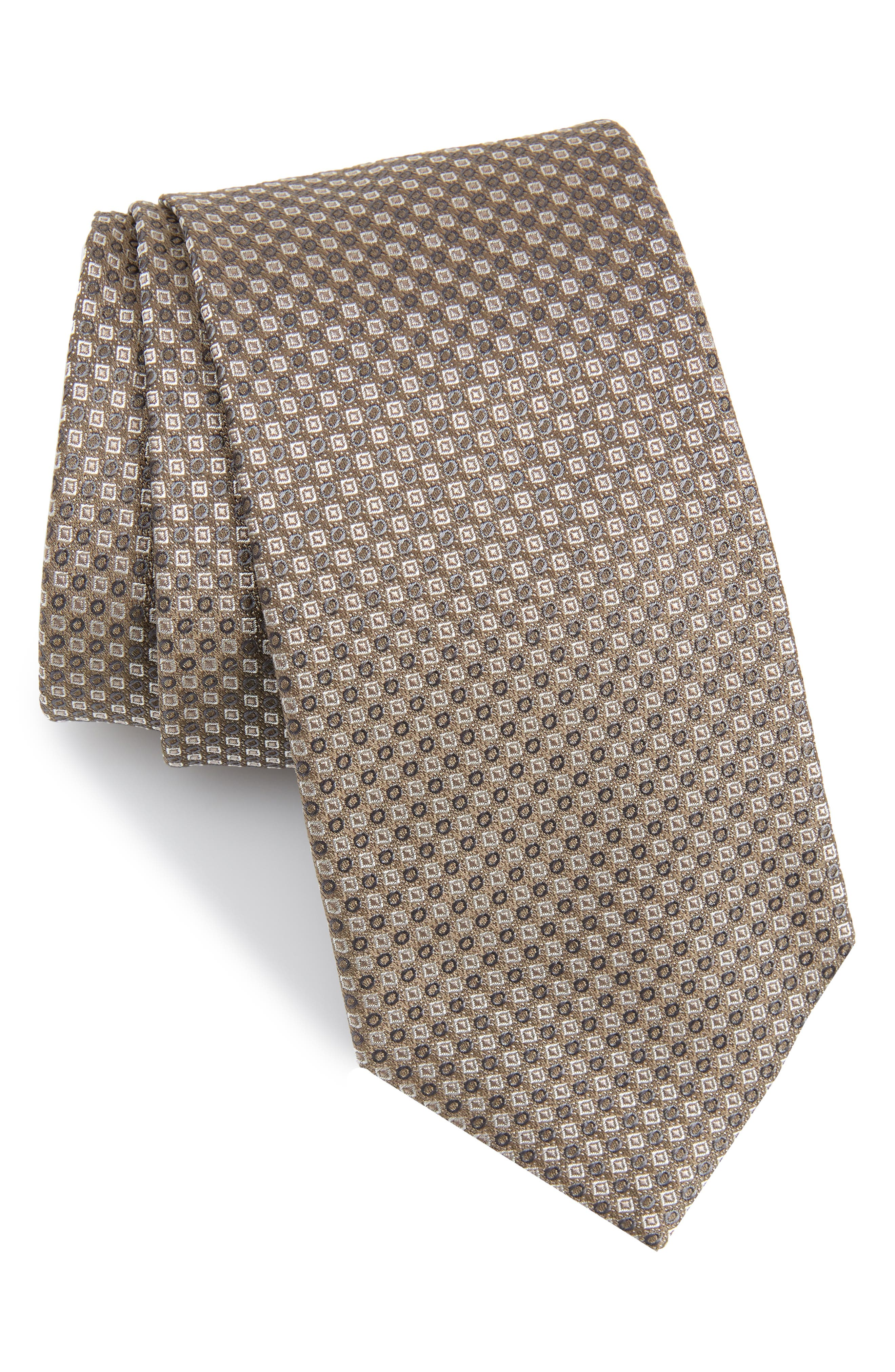 Enna Neat Silk Tie,                         Main,                         color, GREY