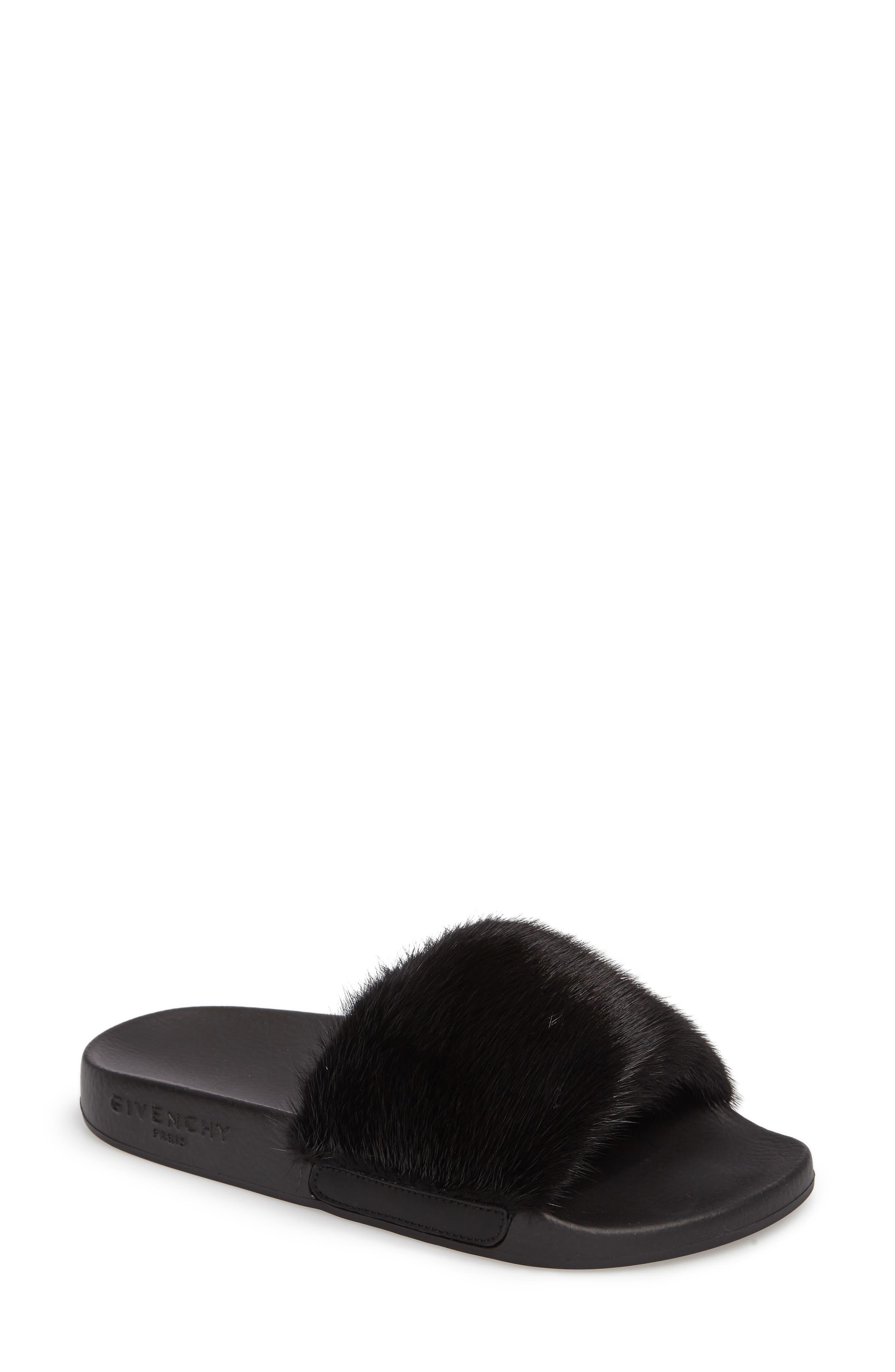 Genuine Mink Fur Slide Sandal,                             Main thumbnail 1, color,                             BLACK MINK