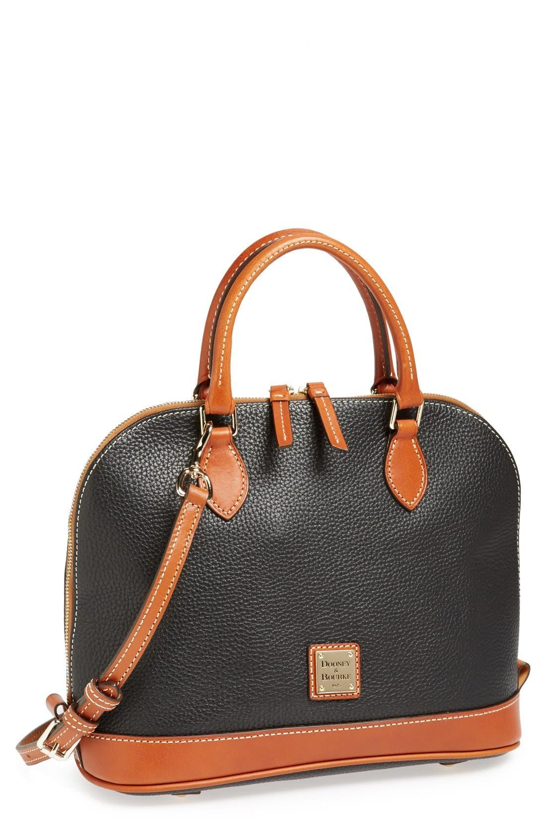 'Pebble Grain Collection' Water Repellent Leather Zip Satchel,                         Main,                         color, 015