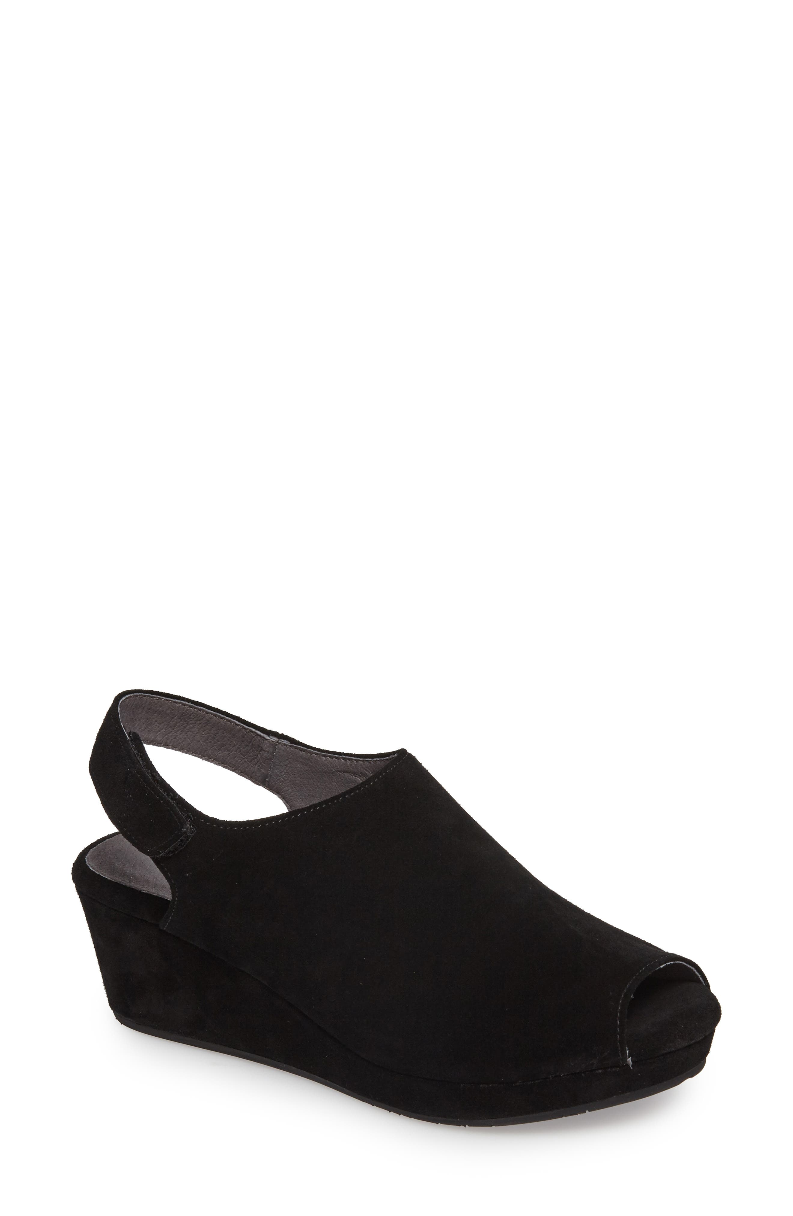 Yana Wedge Sandal,                             Main thumbnail 1, color,                             BLACK SUEDE