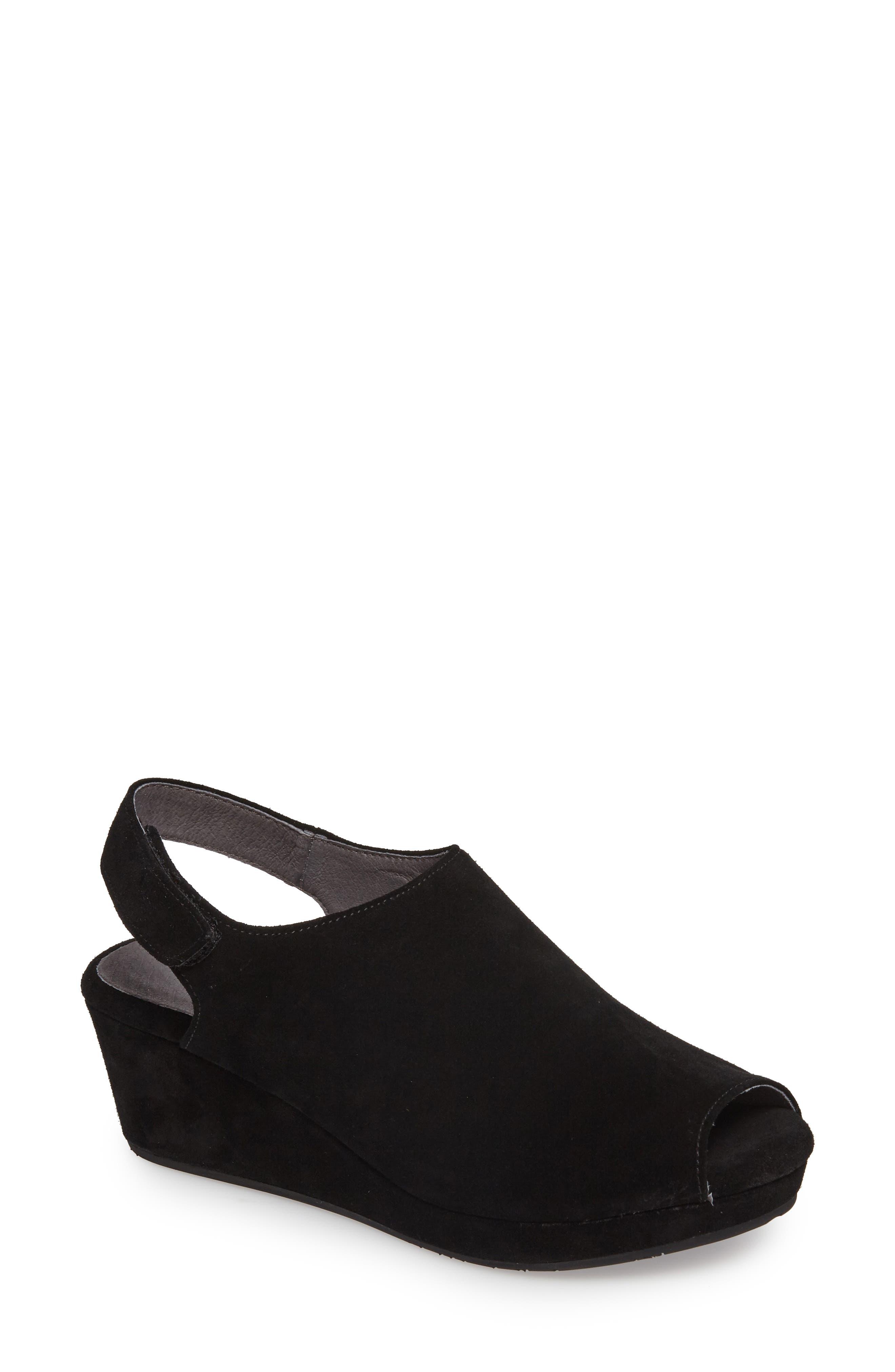 Yana Wedge Sandal,                         Main,                         color, BLACK SUEDE