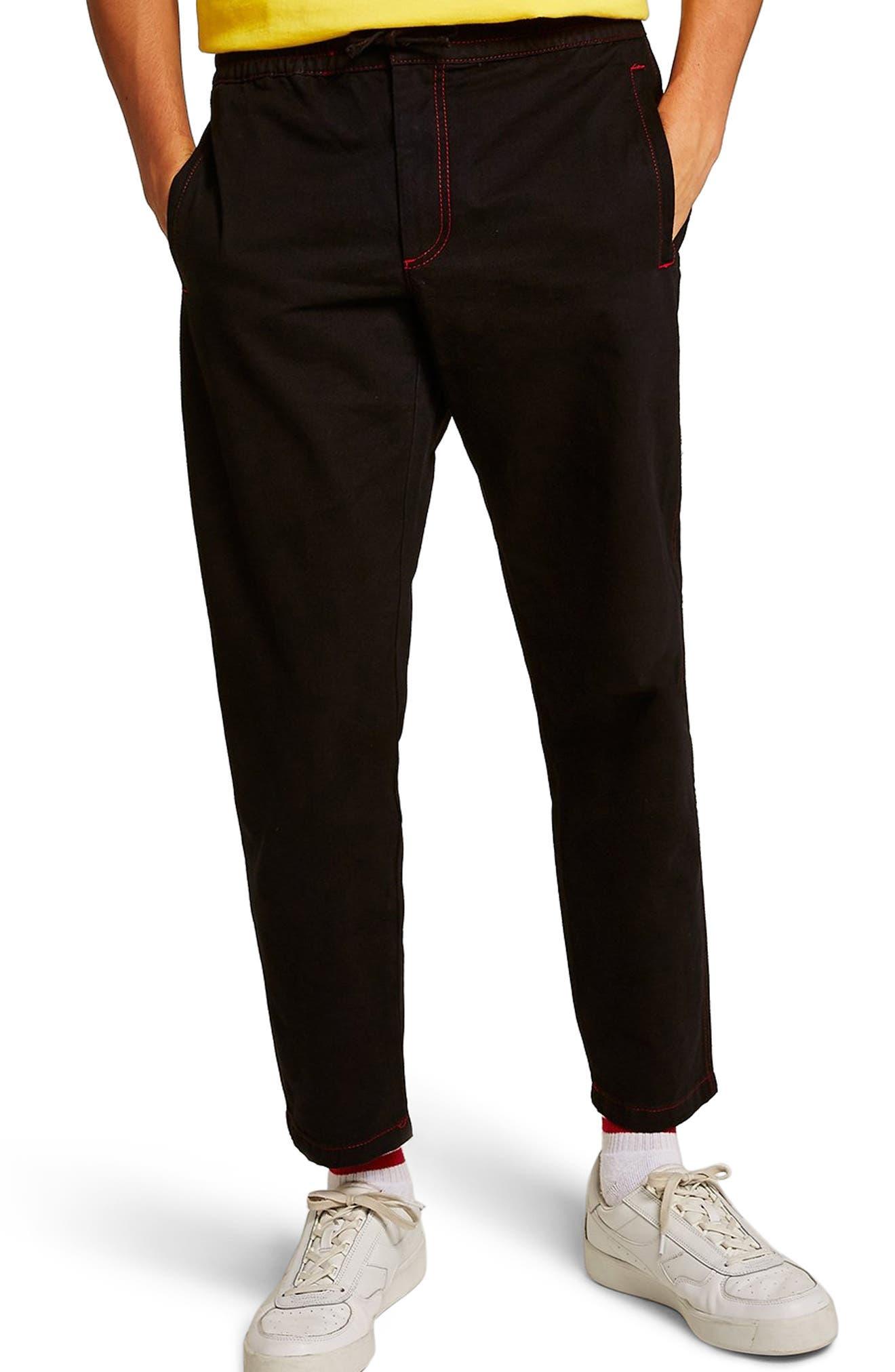 Tapered Fit Jogger Pants,                             Main thumbnail 1, color,                             BLACK